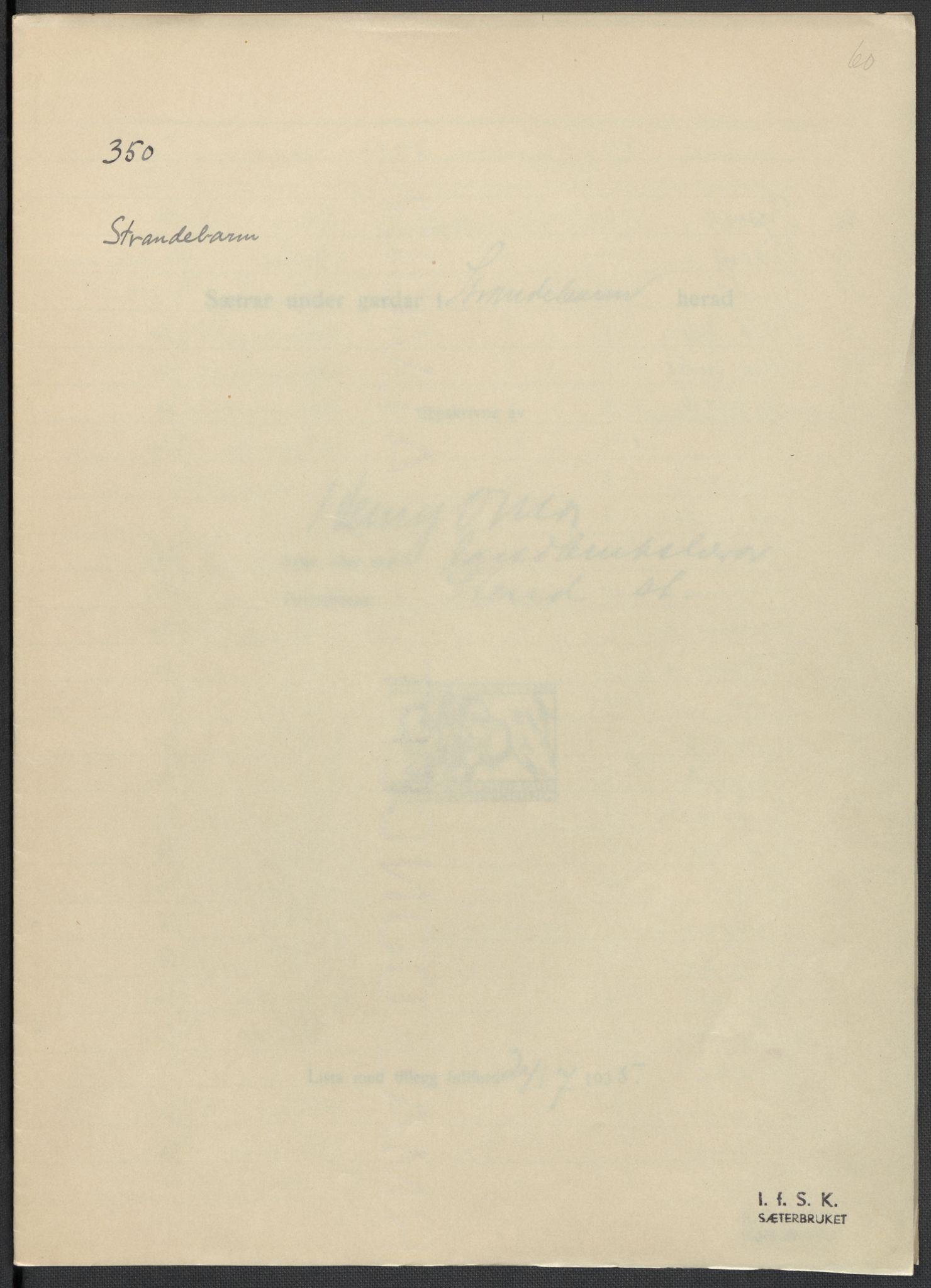 RA, Instituttet for sammenlignende kulturforskning, F/Fc/L0010: Eske B10:, 1932-1935, s. 60