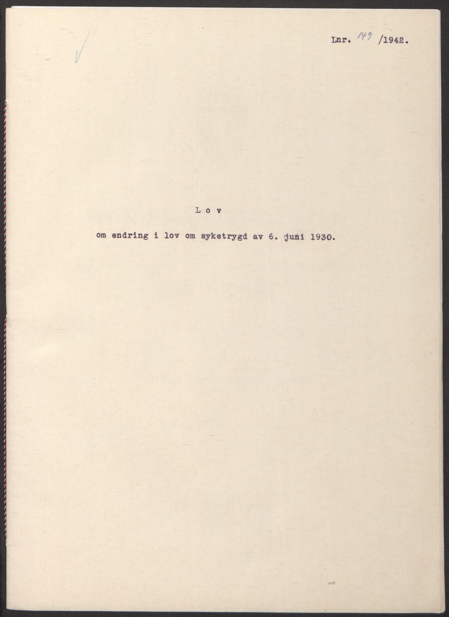 RA, NS-administrasjonen 1940-1945 (Statsrådsekretariatet, de kommisariske statsråder mm), D/Db/L0098: Lover II, 1942, s. upaginert