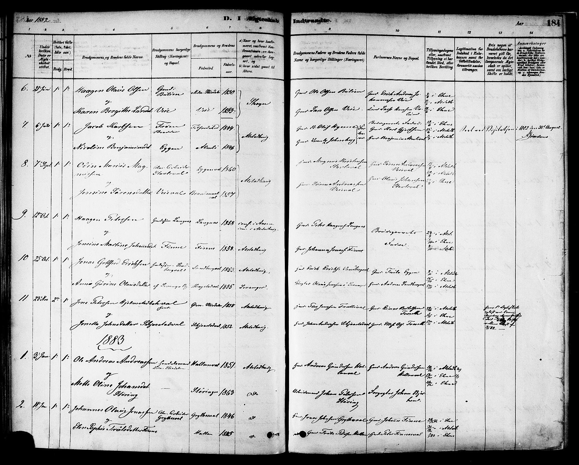 SAT, Ministerialprotokoller, klokkerbøker og fødselsregistre - Nord-Trøndelag, 717/L0159: Ministerialbok nr. 717A09, 1878-1898, s. 184