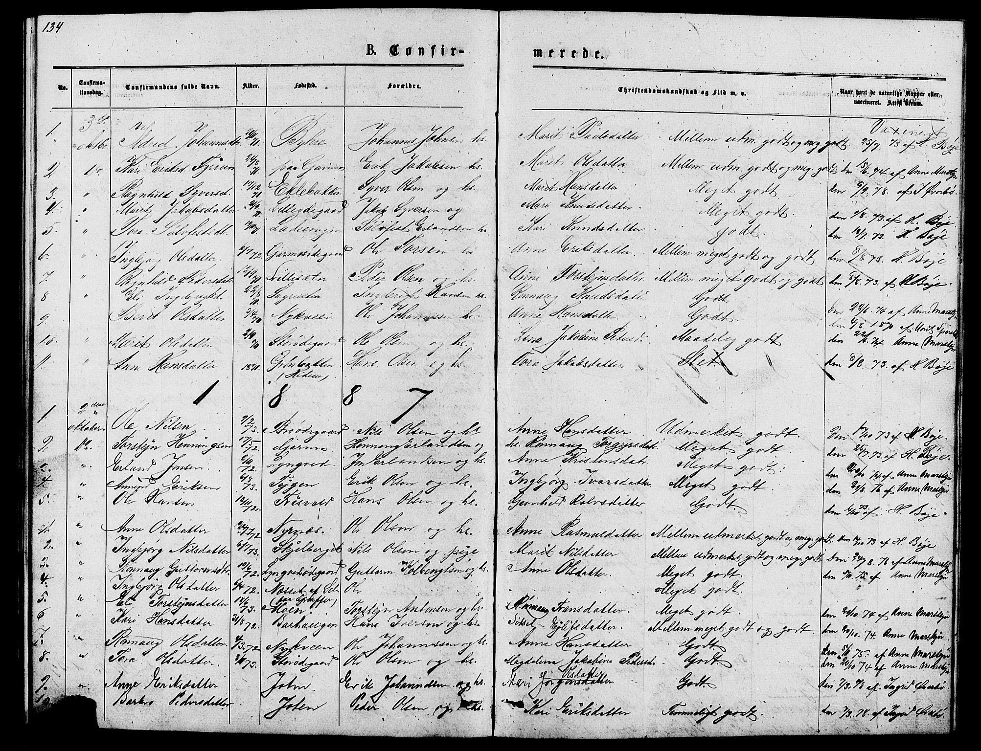 SAH, Lom prestekontor, L/L0005: Klokkerbok nr. 5, 1876-1901, s. 134-135