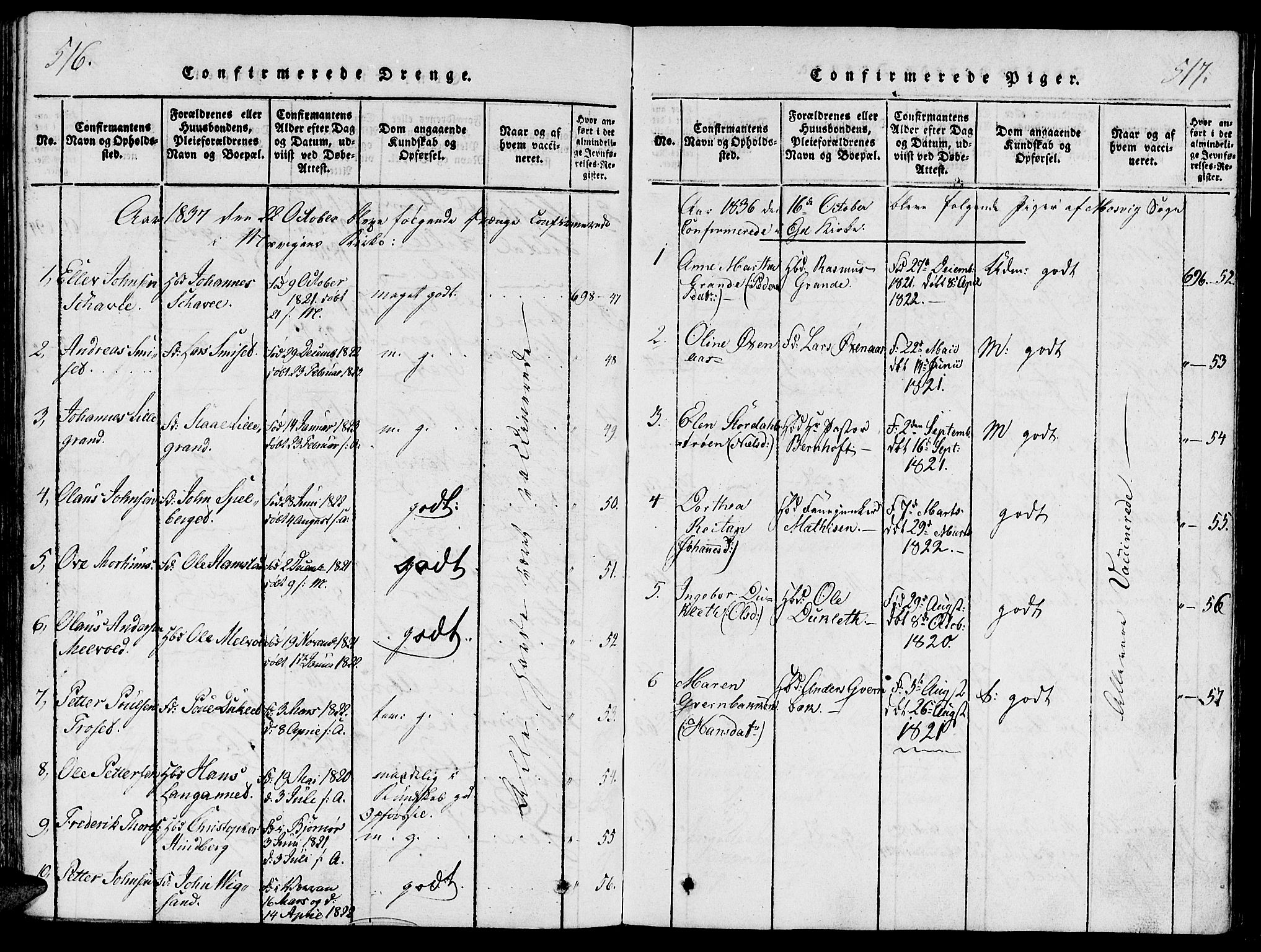 SAT, Ministerialprotokoller, klokkerbøker og fødselsregistre - Nord-Trøndelag, 733/L0322: Ministerialbok nr. 733A01, 1817-1842, s. 516-517