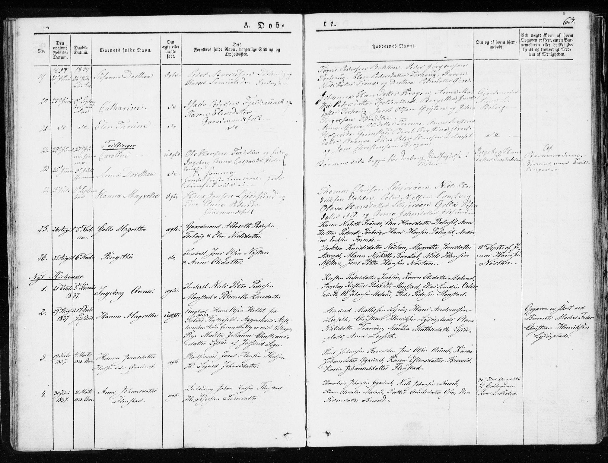 SAT, Ministerialprotokoller, klokkerbøker og fødselsregistre - Sør-Trøndelag, 655/L0676: Ministerialbok nr. 655A05, 1830-1847, s. 63