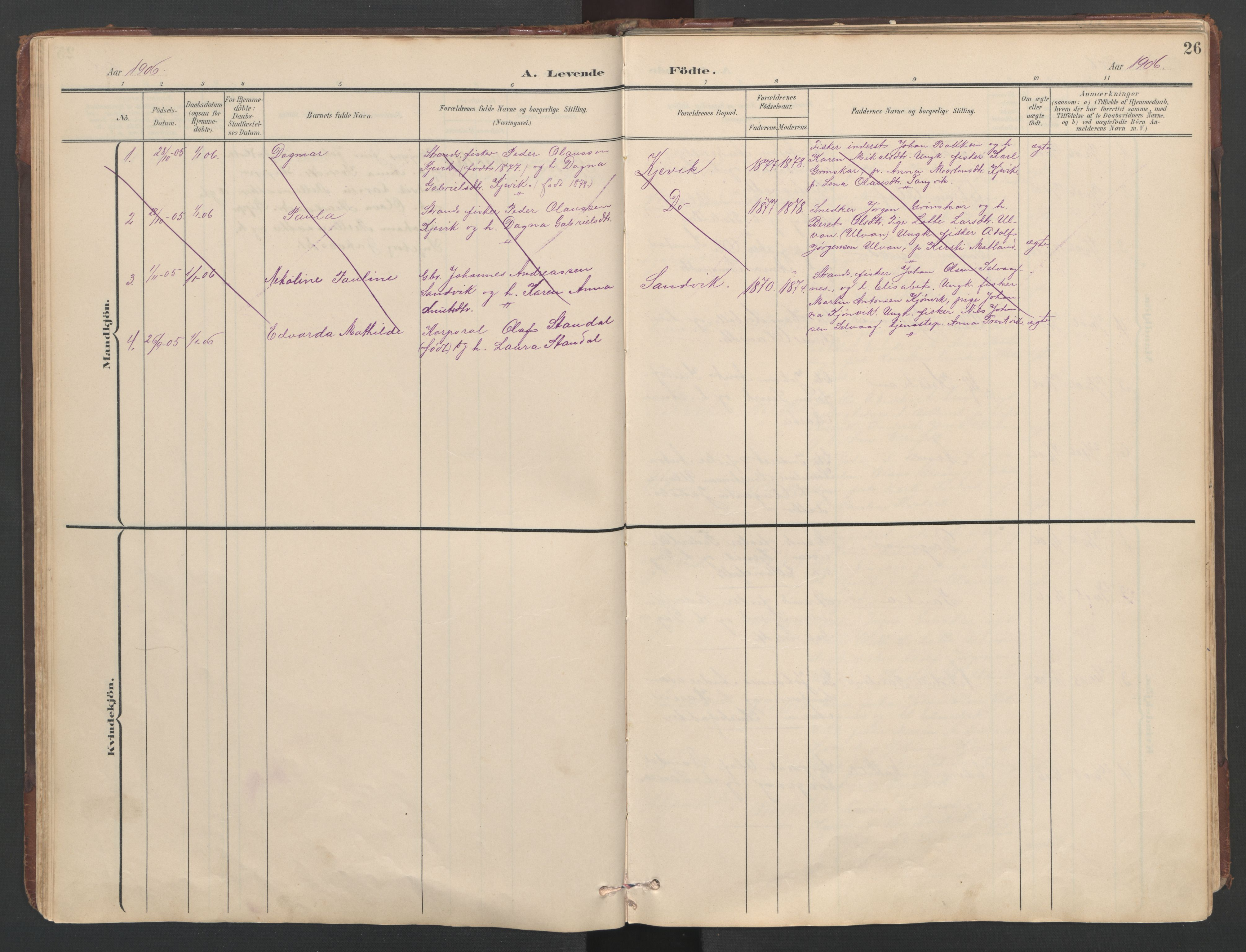 SAT, Ministerialprotokoller, klokkerbøker og fødselsregistre - Sør-Trøndelag, 638/L0571: Klokkerbok nr. 638C03, 1901-1930, s. 26
