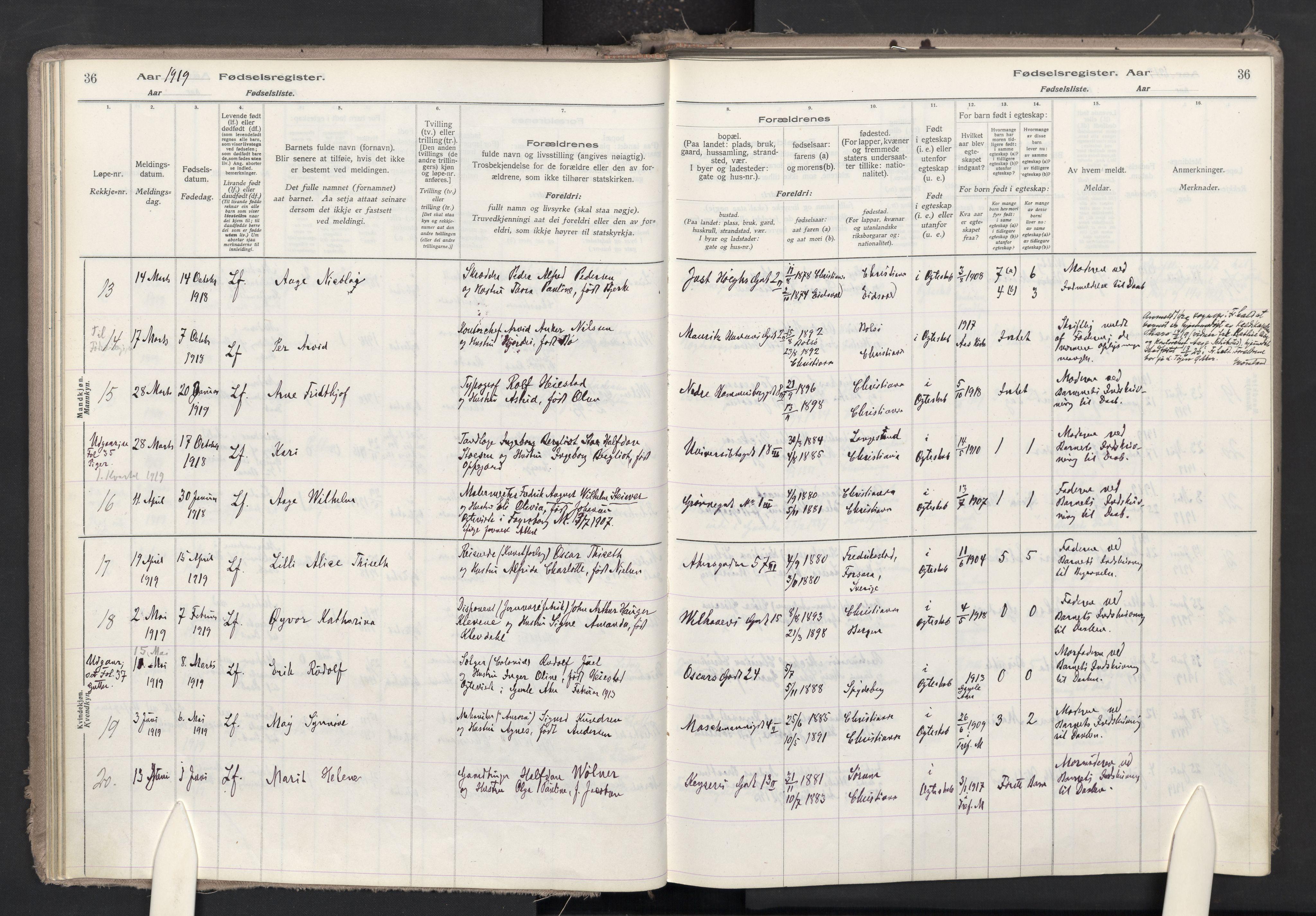 SAO, Trefoldighet prestekontor Kirkebøker, J/Ja/L0001: Fødselsregister nr. 1, 1916-1931, s. 36