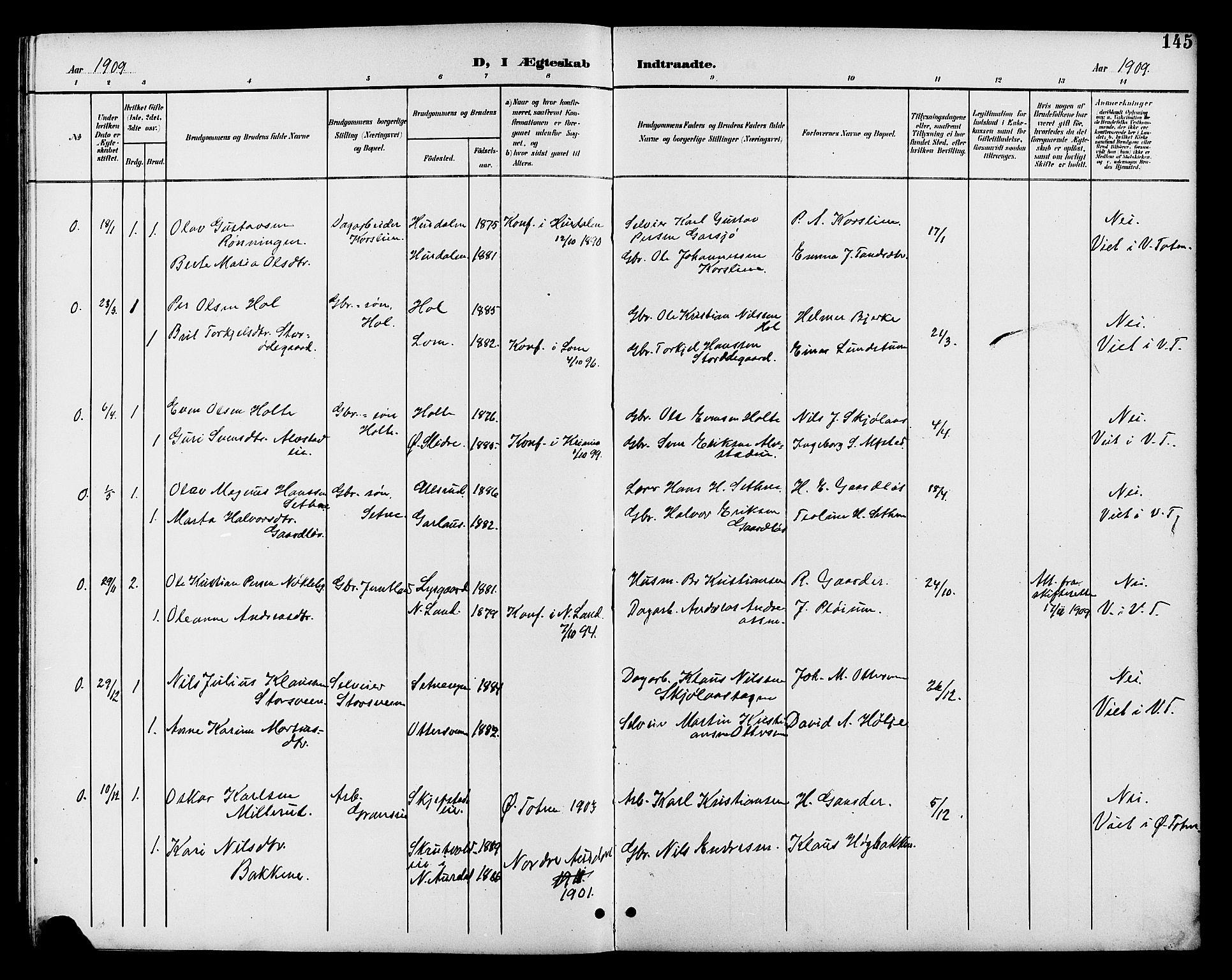 SAH, Vestre Toten prestekontor, H/Ha/Hab/L0011: Klokkerbok nr. 11, 1901-1911, s. 145