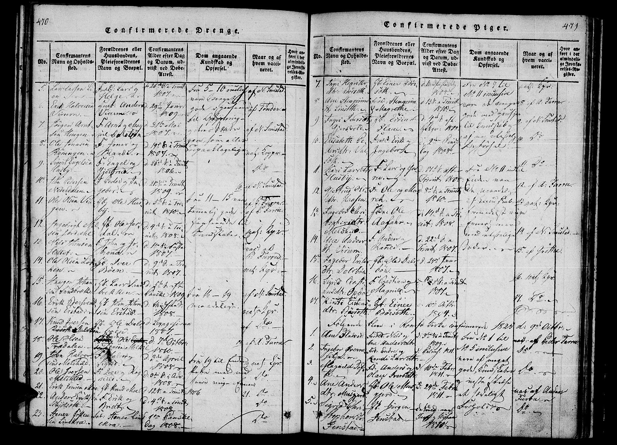 SAT, Ministerialprotokoller, klokkerbøker og fødselsregistre - Møre og Romsdal, 590/L1009: Ministerialbok nr. 590A03 /1, 1819-1832, s. 470-471