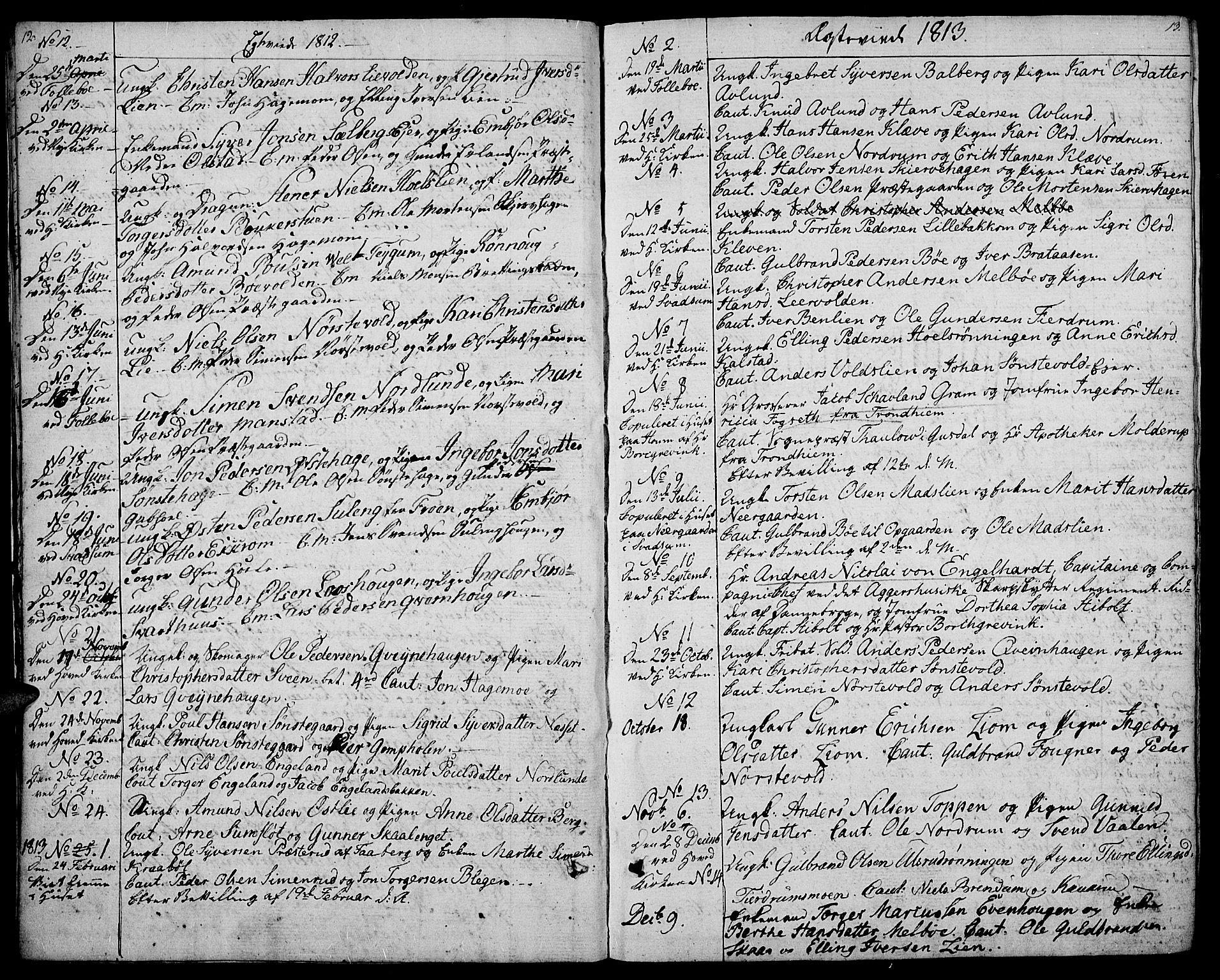 SAH, Gausdal prestekontor, Ministerialbok nr. 4, 1809-1817, s. 12-13