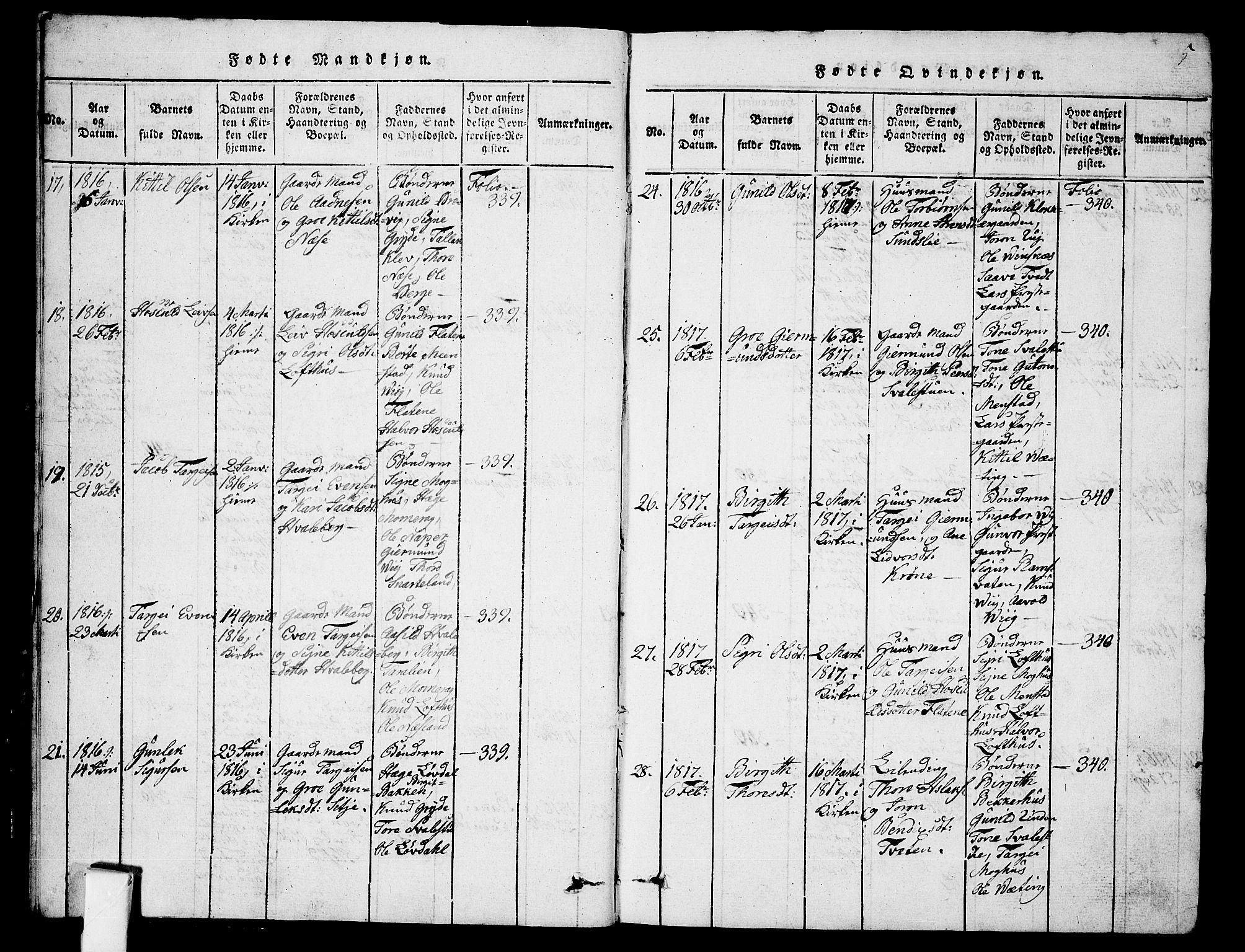 SAKO, Fyresdal kirkebøker, G/Ga/L0001: Klokkerbok nr. I 1, 1816-1840, s. 5