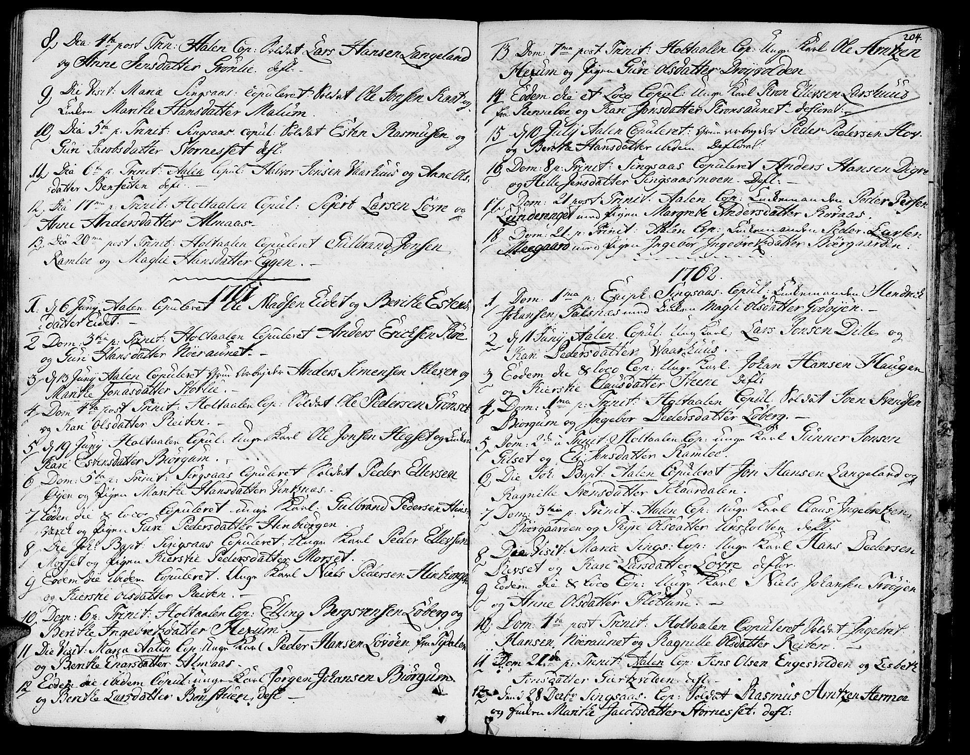 SAT, Ministerialprotokoller, klokkerbøker og fødselsregistre - Sør-Trøndelag, 685/L0952: Ministerialbok nr. 685A01, 1745-1804, s. 204