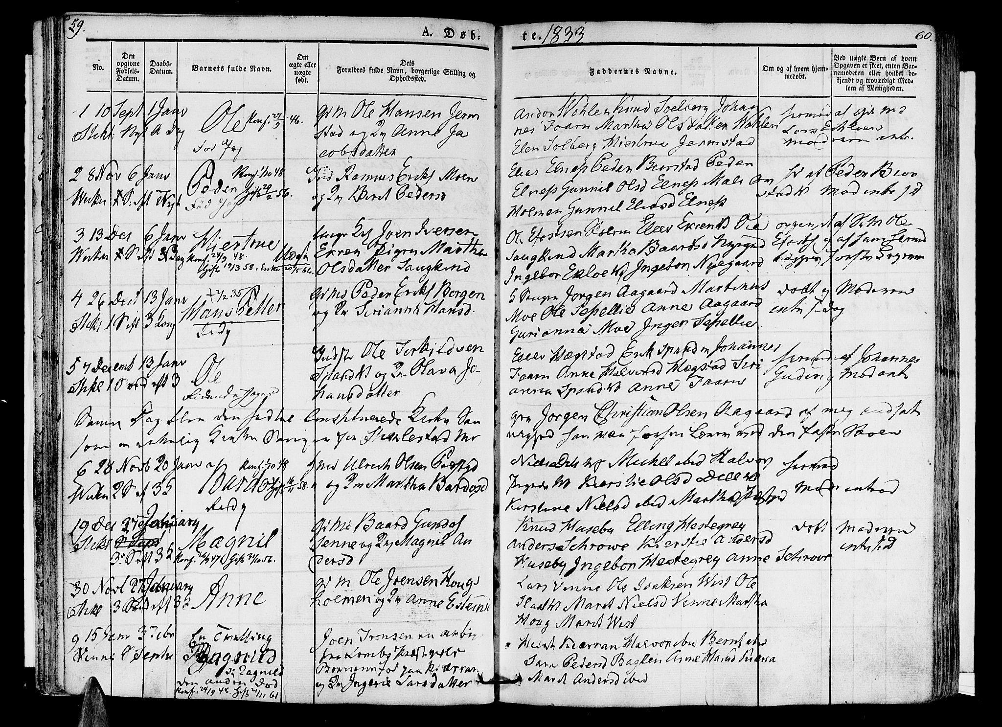 SAT, Ministerialprotokoller, klokkerbøker og fødselsregistre - Nord-Trøndelag, 723/L0238: Ministerialbok nr. 723A07, 1831-1840, s. 59-60