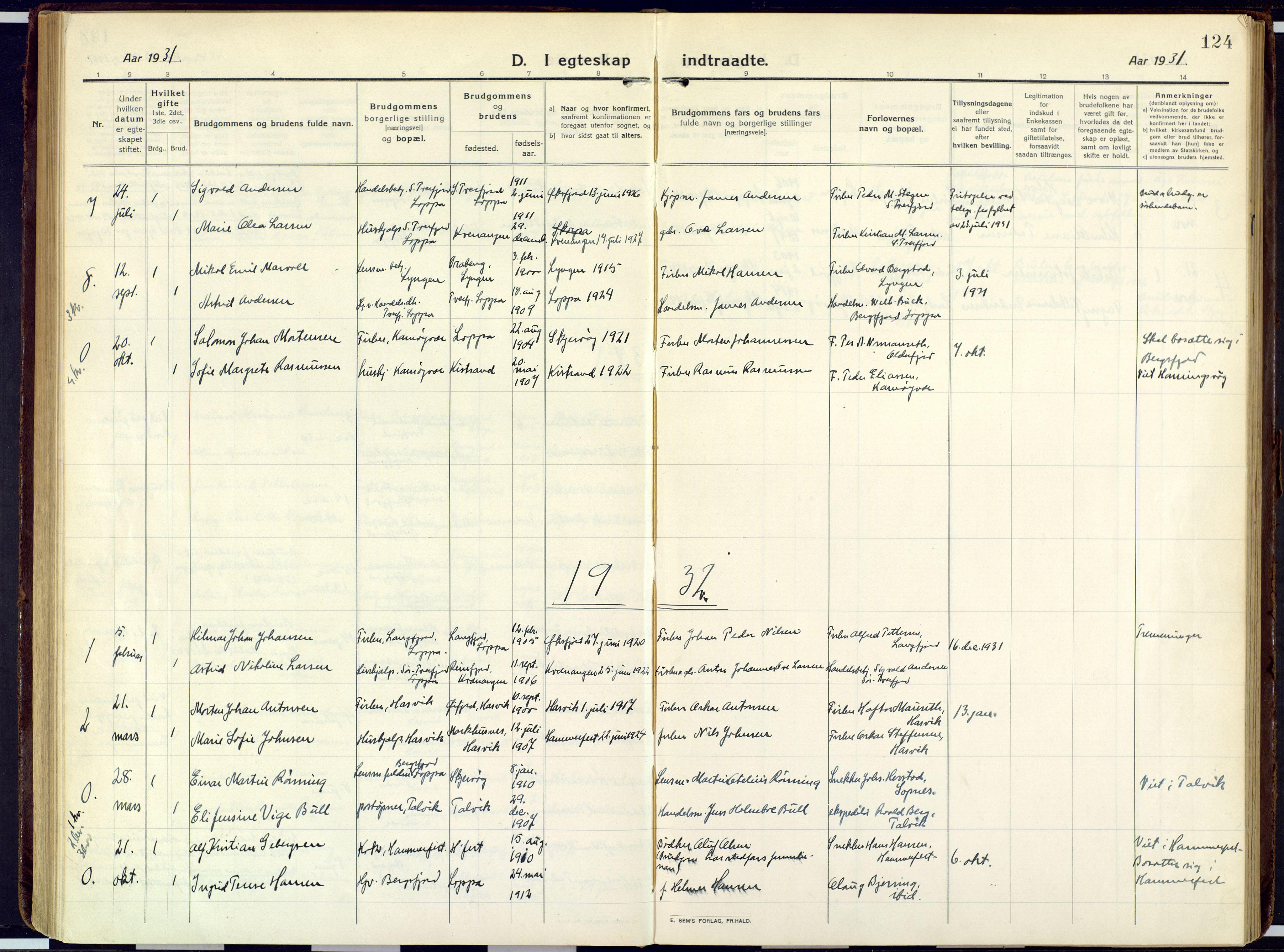 SATØ, Loppa sokneprestkontor, H/Ha/L0013kirke: Ministerialbok nr. 13, 1920-1932, s. 124