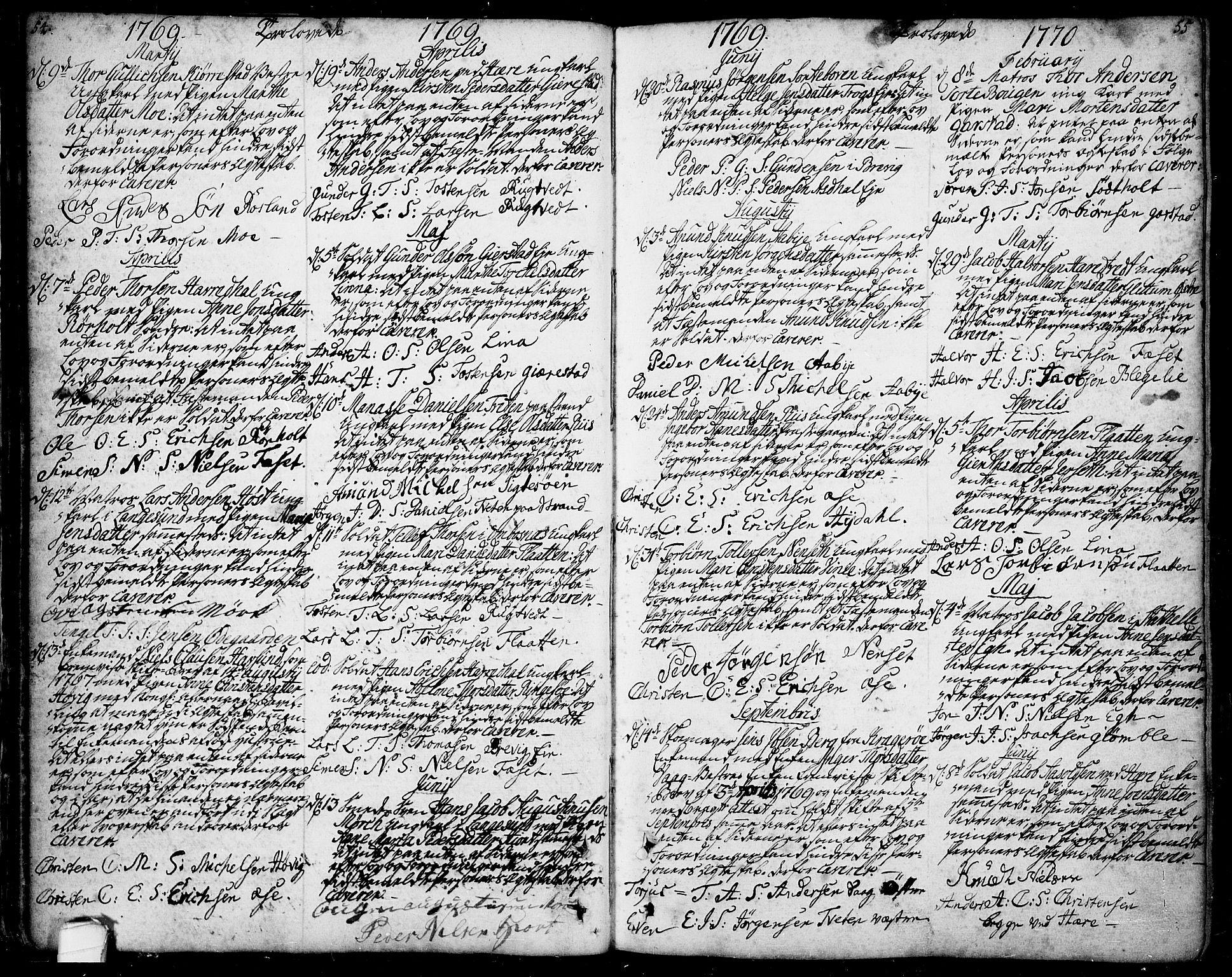 SAKO, Bamble kirkebøker, F/Fa/L0001: Ministerialbok nr. I 1, 1702-1774, s. 54-55