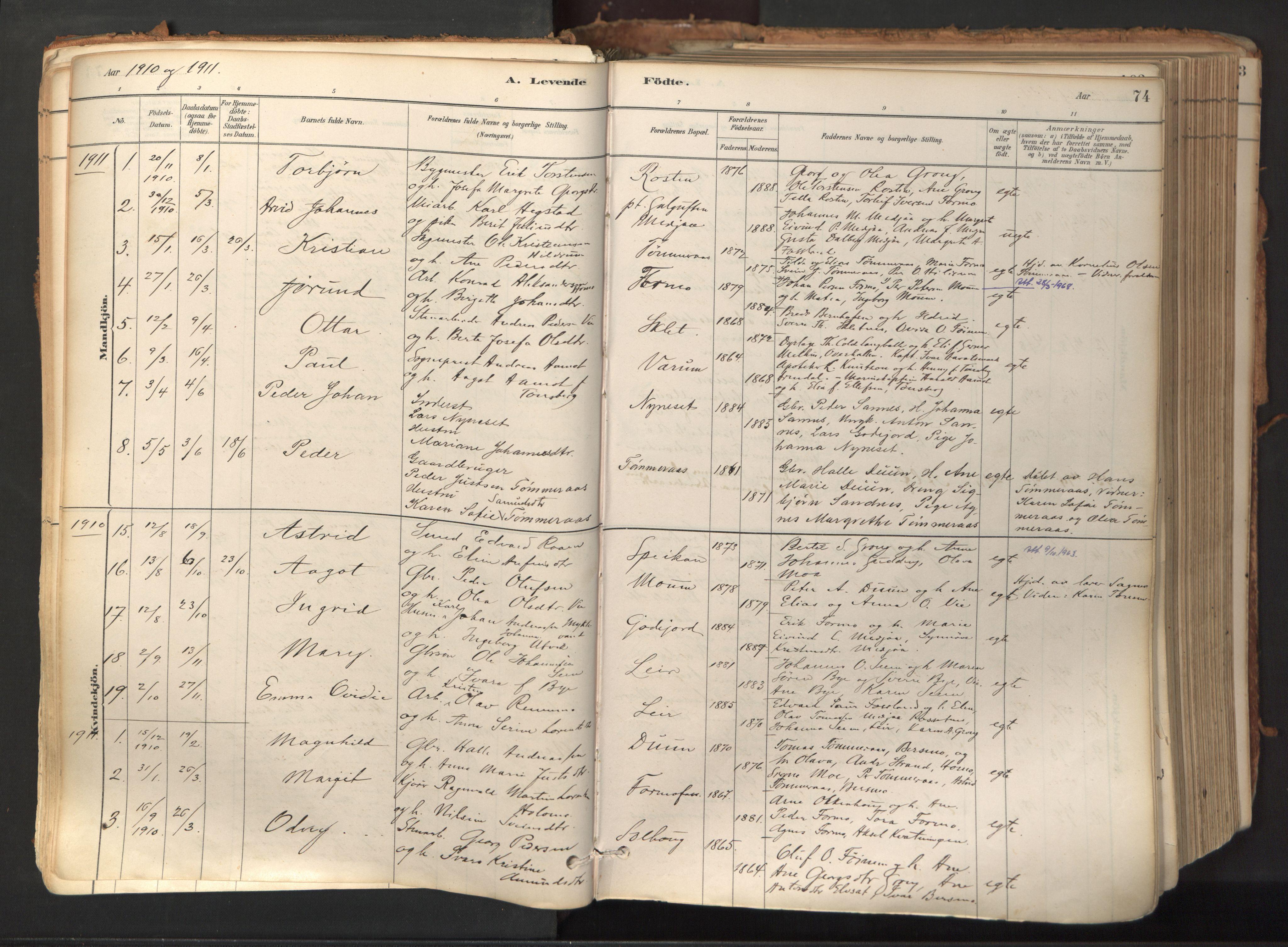 SAT, Ministerialprotokoller, klokkerbøker og fødselsregistre - Nord-Trøndelag, 758/L0519: Ministerialbok nr. 758A04, 1880-1926, s. 74