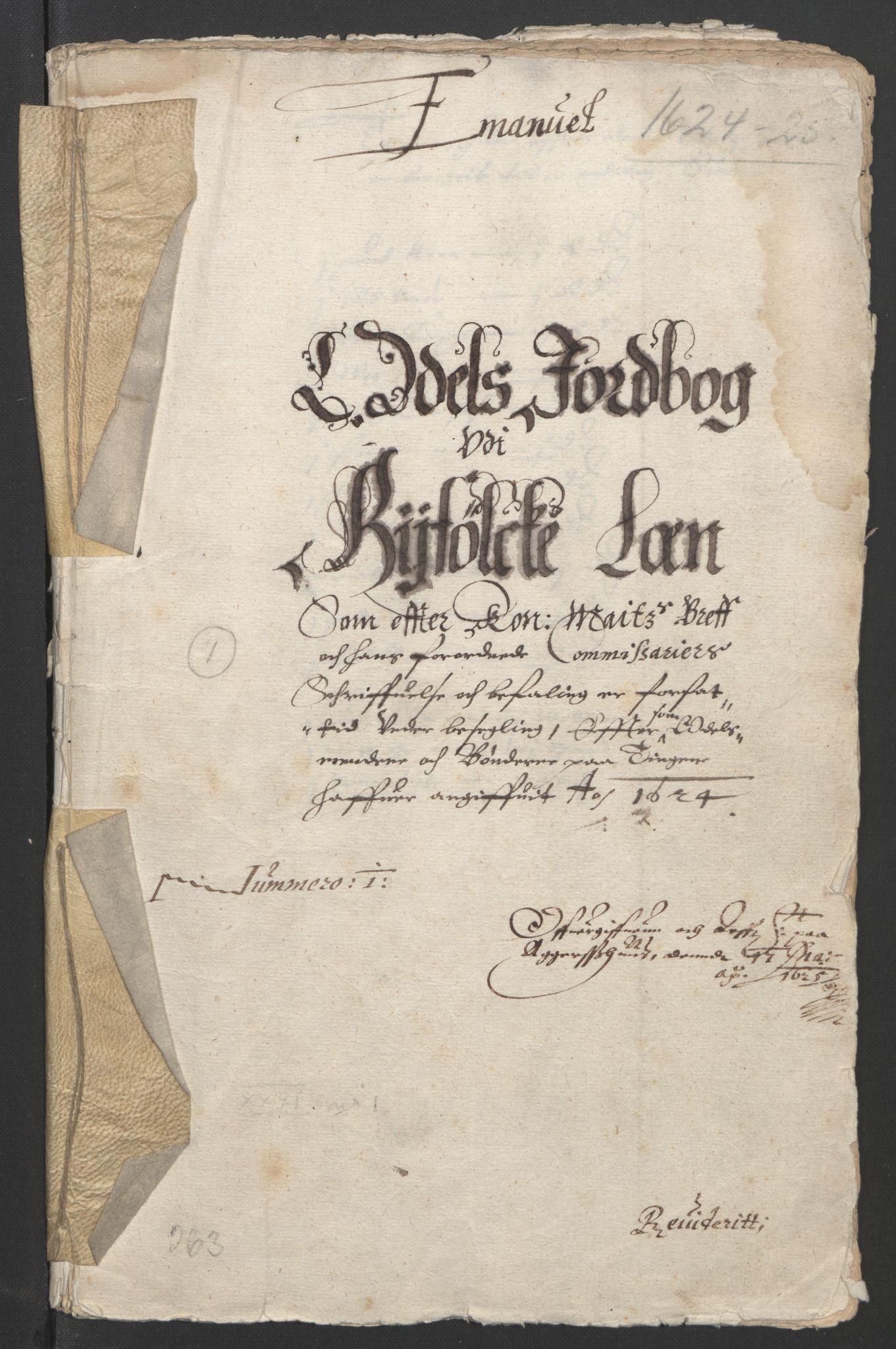 RA, Stattholderembetet 1572-1771, Ek/L0010: Jordebøker til utlikning av rosstjeneste 1624-1626:, 1624-1626, s. 3