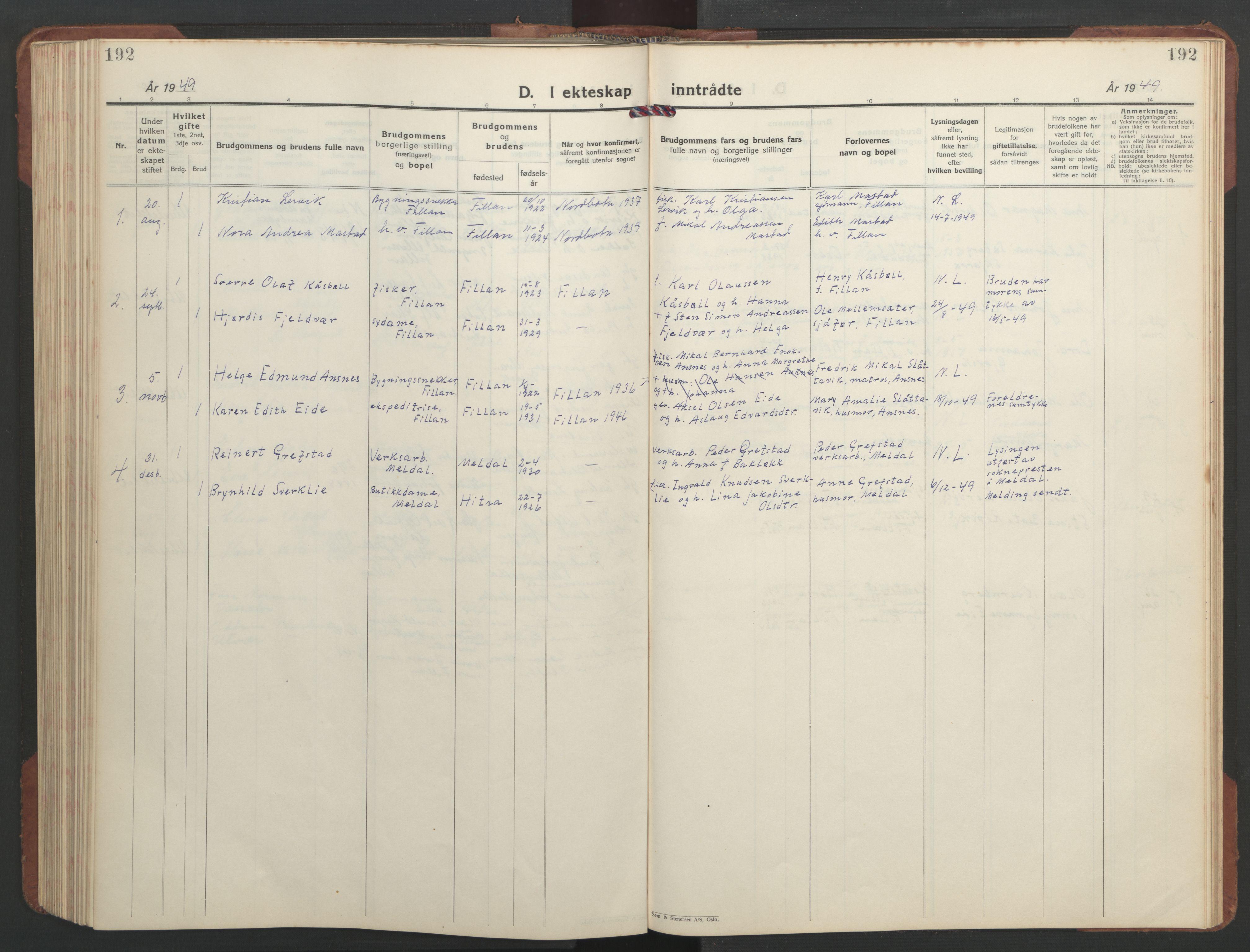 SAT, Ministerialprotokoller, klokkerbøker og fødselsregistre - Sør-Trøndelag, 637/L0564: Klokkerbok nr. 637C05, 1928-1968, s. 192