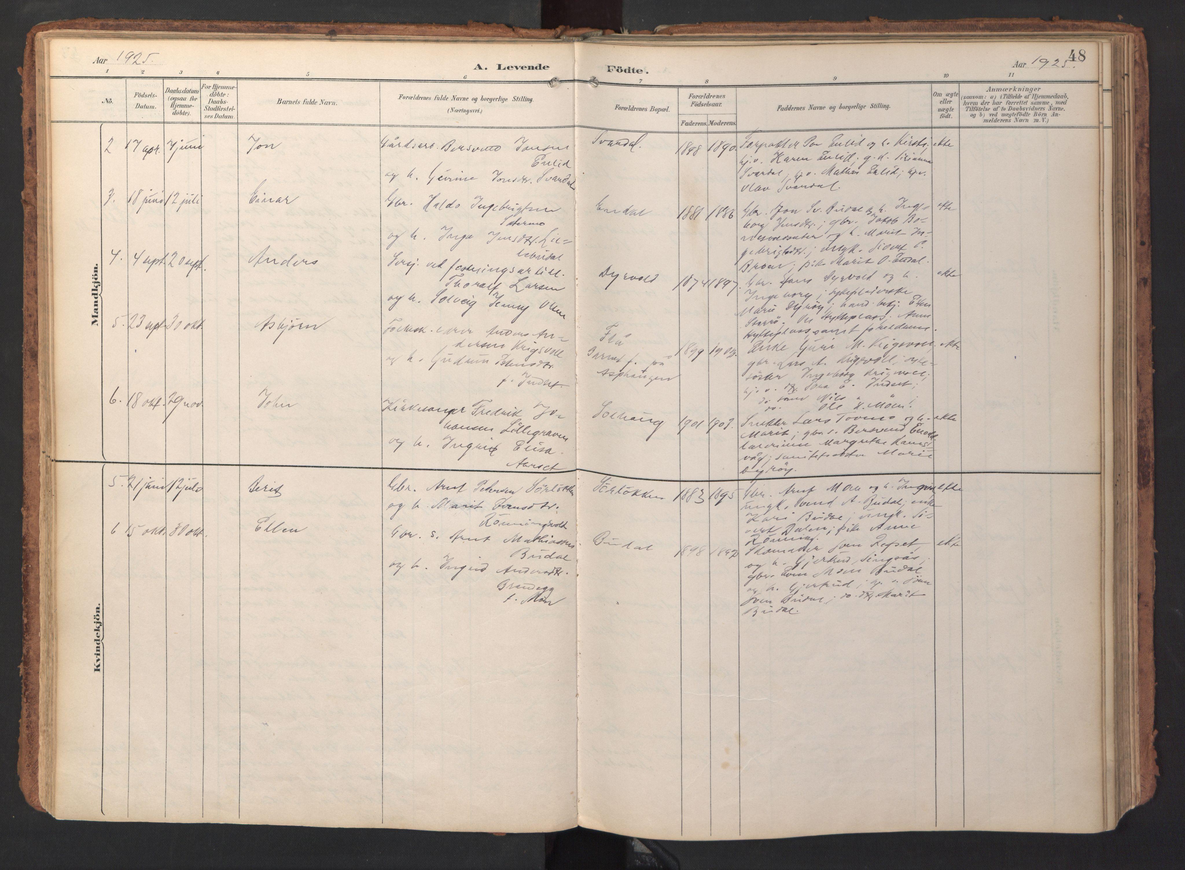 SAT, Ministerialprotokoller, klokkerbøker og fødselsregistre - Sør-Trøndelag, 690/L1050: Ministerialbok nr. 690A01, 1889-1929, s. 48