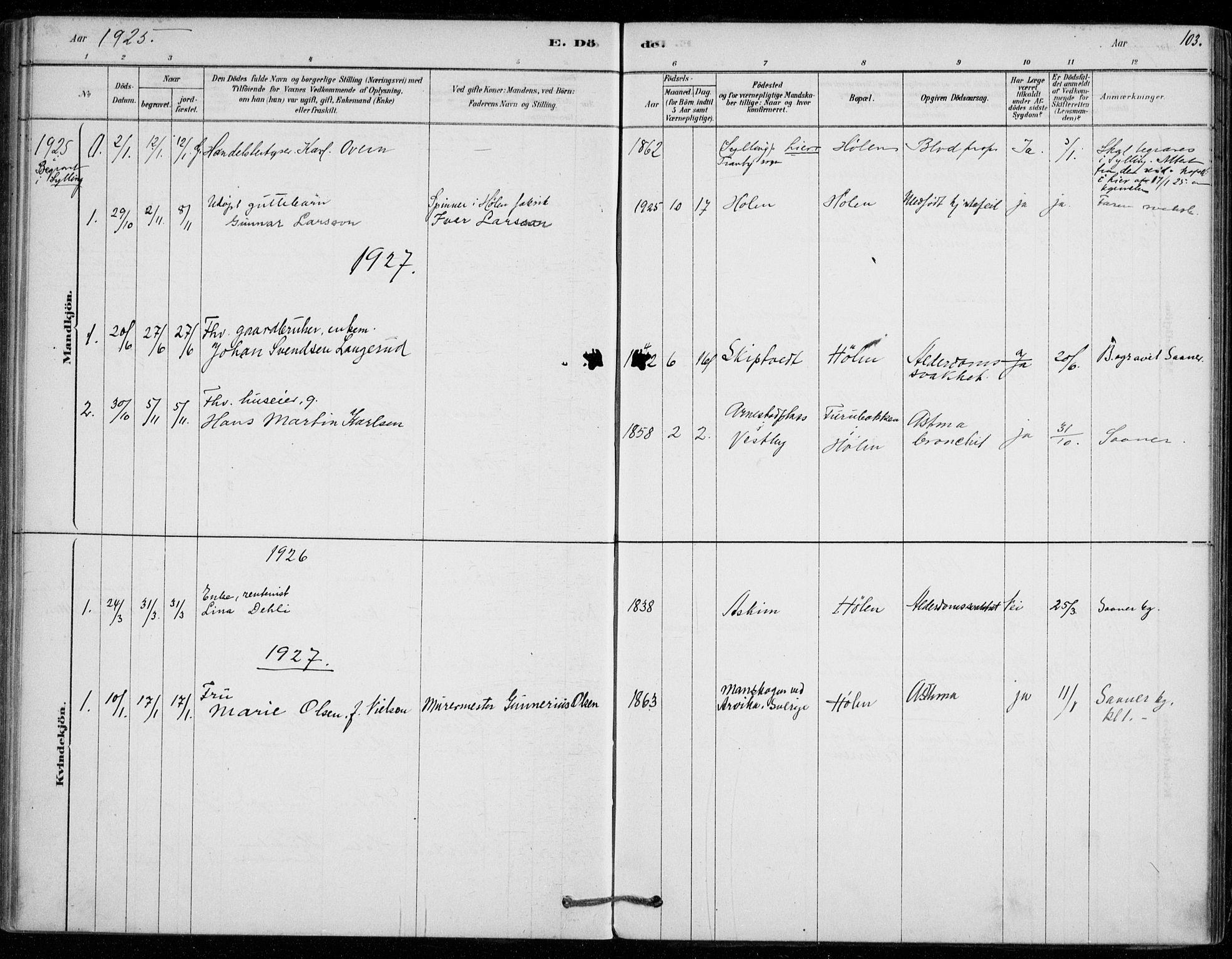 SAO, Vestby prestekontor Kirkebøker, F/Fe/L0001: Ministerialbok nr. V 1, 1878-1931, s. 103