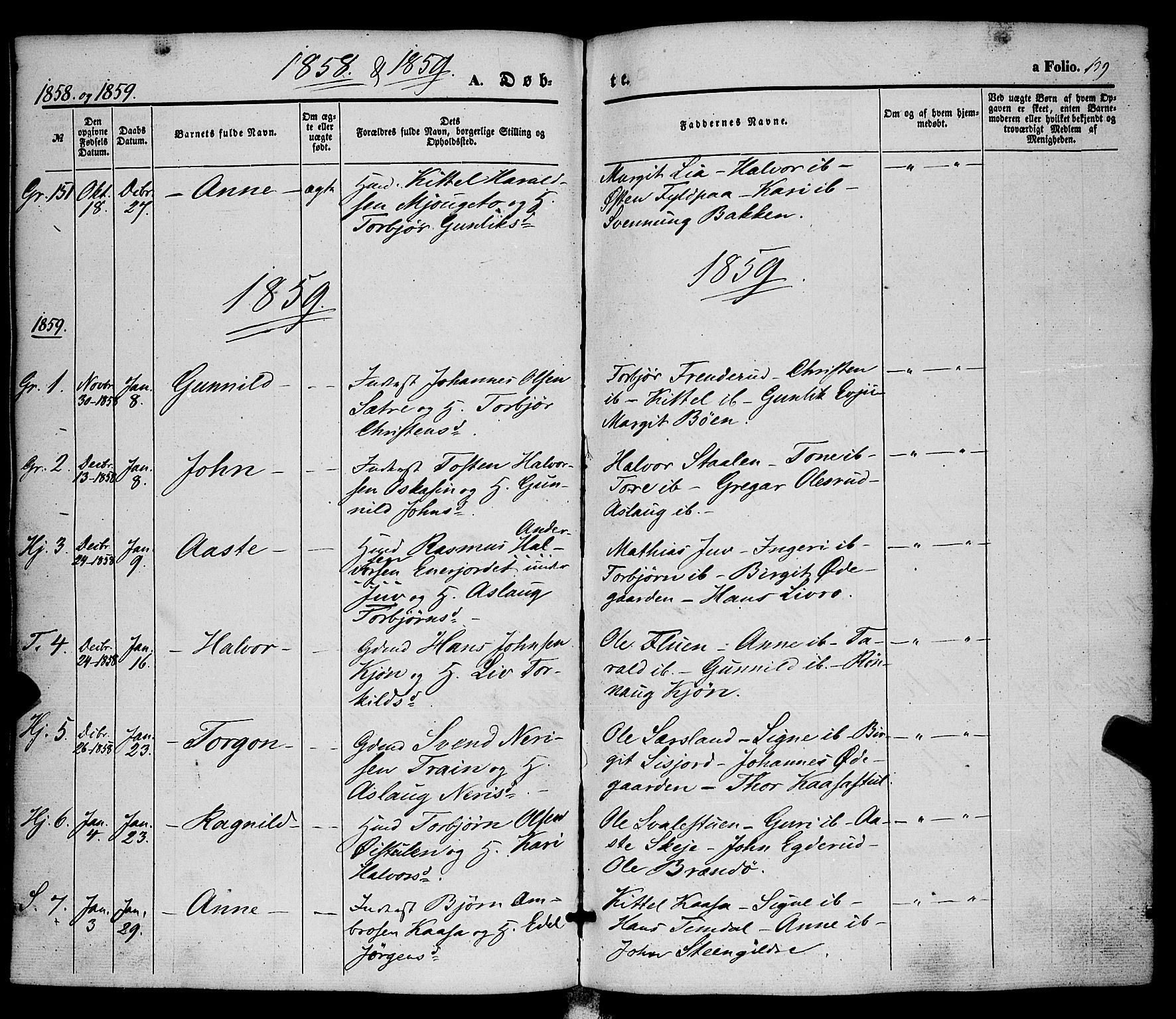 SAKO, Hjartdal kirkebøker, F/Fa/L0008: Ministerialbok nr. I 8, 1844-1859, s. 139