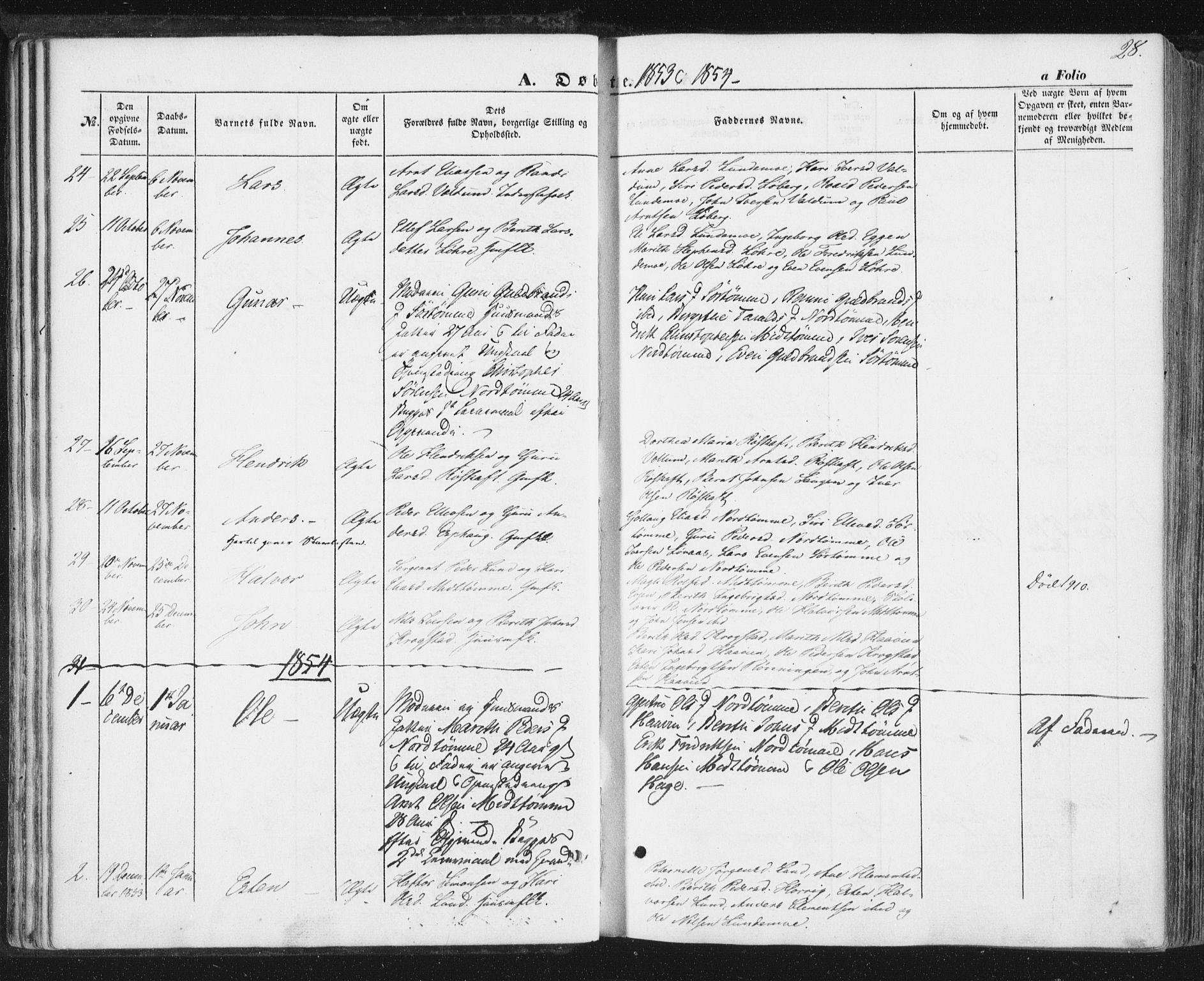 SAT, Ministerialprotokoller, klokkerbøker og fødselsregistre - Sør-Trøndelag, 692/L1103: Ministerialbok nr. 692A03, 1849-1870, s. 28