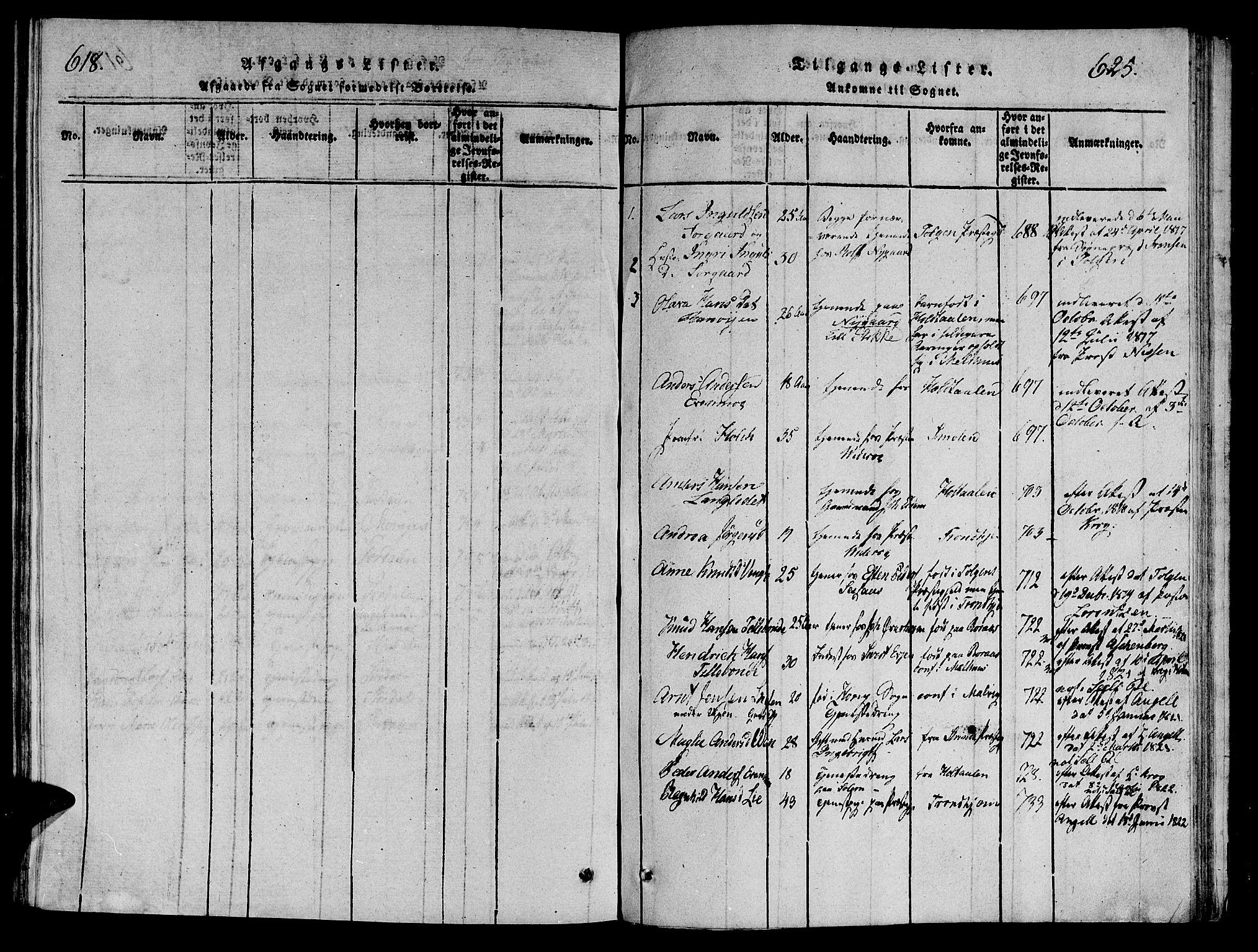 SAT, Ministerialprotokoller, klokkerbøker og fødselsregistre - Sør-Trøndelag, 695/L1141: Ministerialbok nr. 695A04 /1, 1816-1824, s. 618-625
