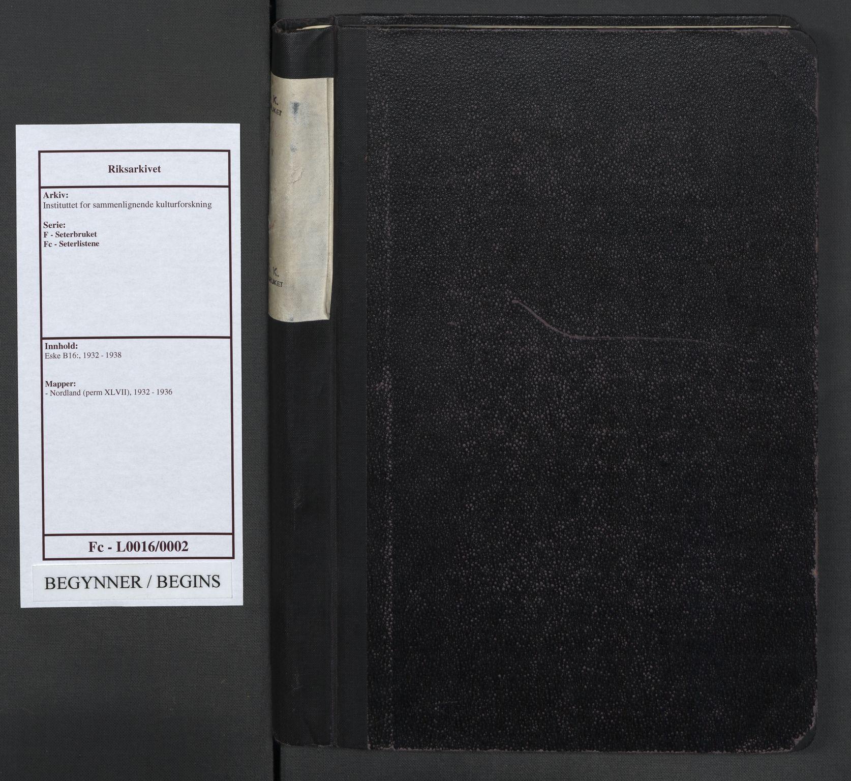 RA, Instituttet for sammenlignende kulturforskning, F/Fc/L0016: Eske B16:, 1932-1936, s. upaginert