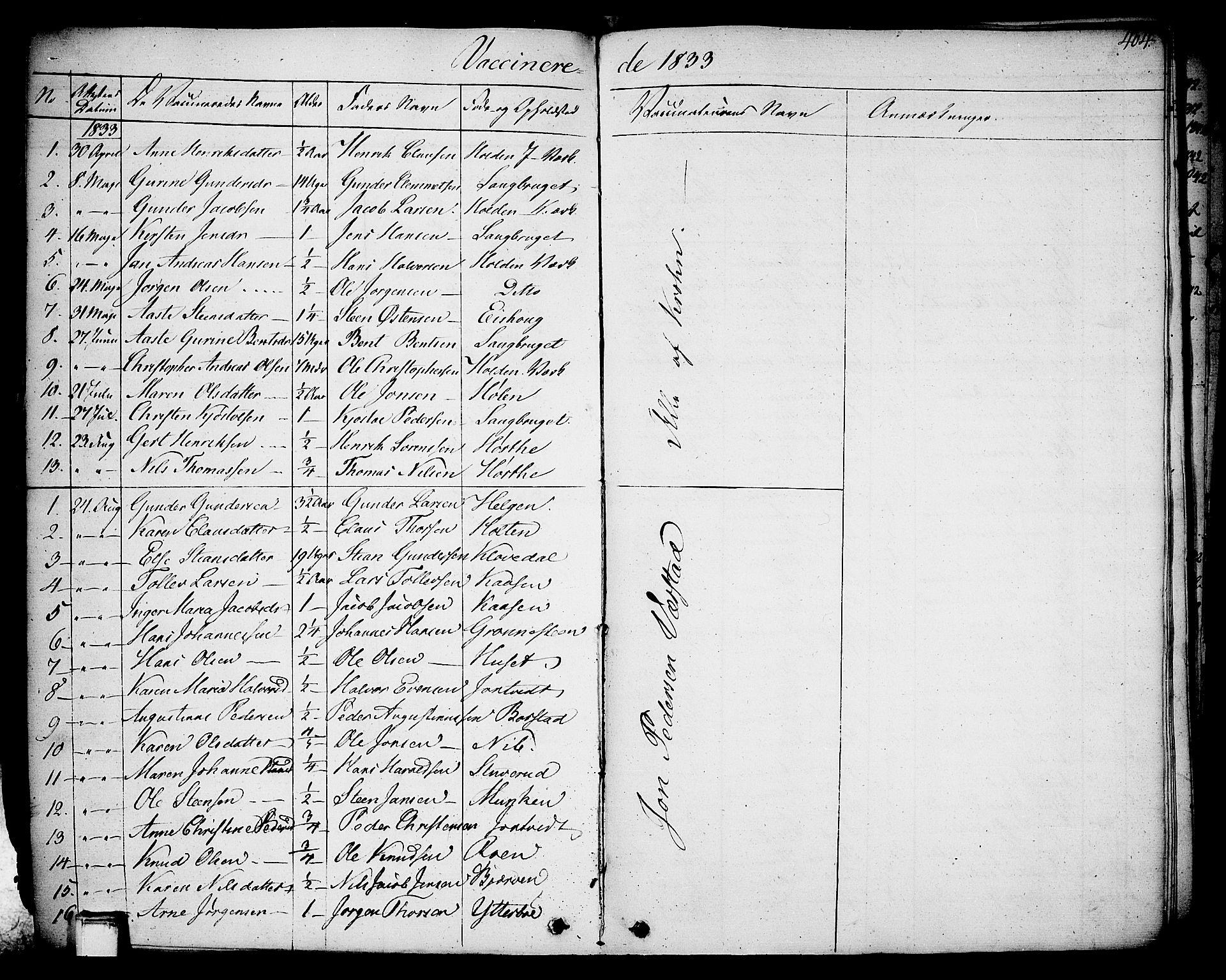 SAKO, Holla kirkebøker, F/Fa/L0004: Ministerialbok nr. 4, 1830-1848, s. 404