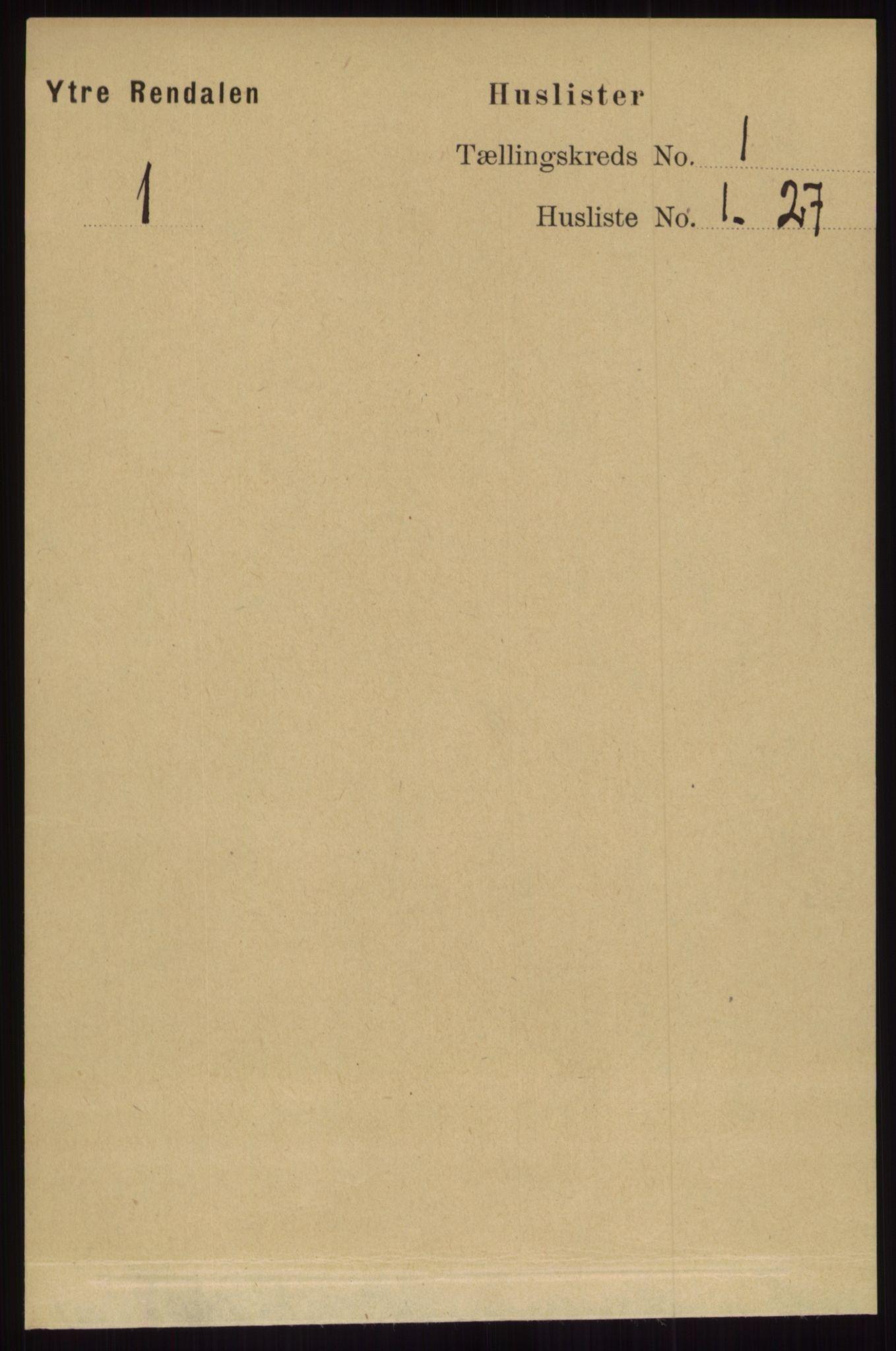 RA, Folketelling 1891 for 0432 Ytre Rendal herred, 1891, s. 22