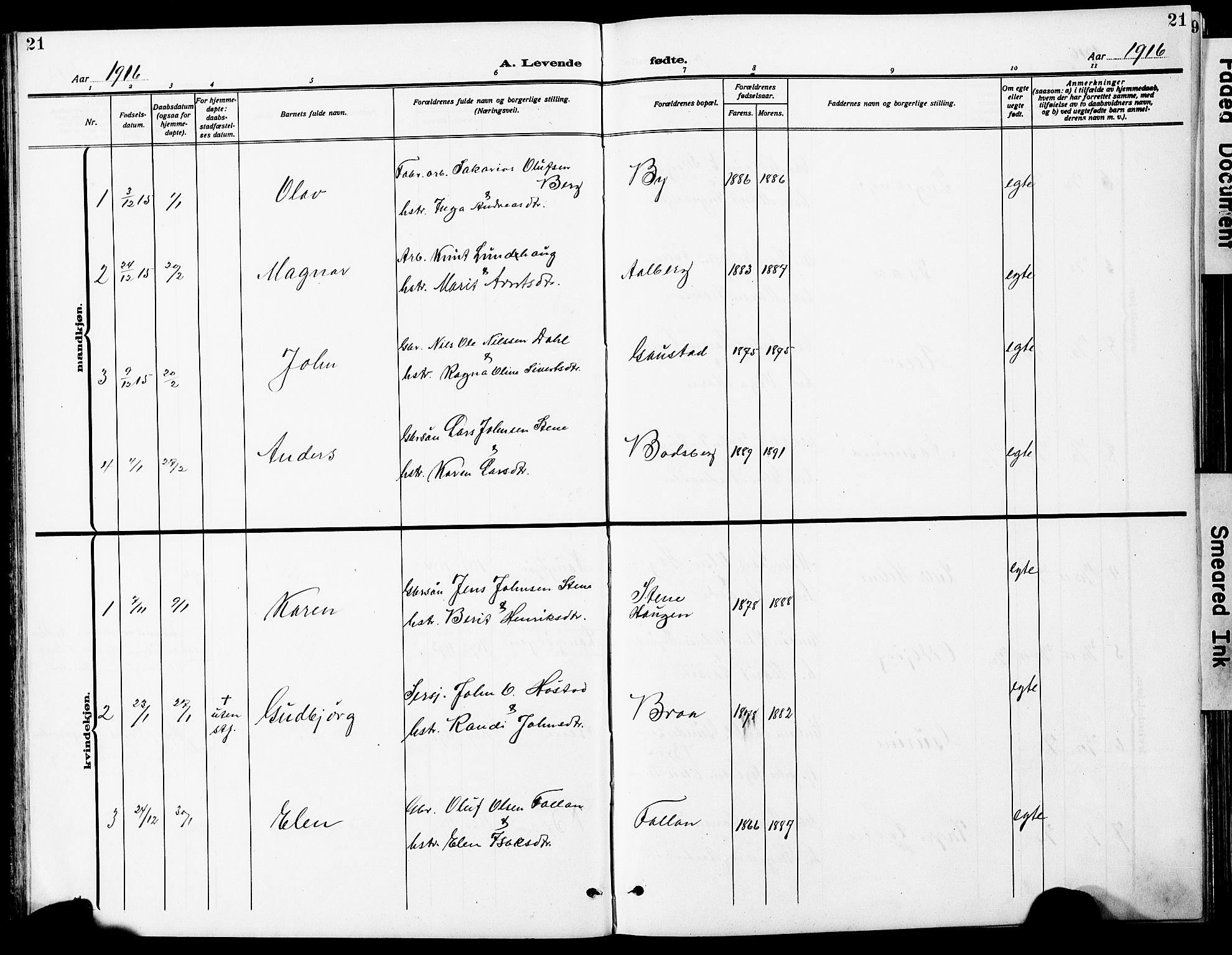 SAT, Ministerialprotokoller, klokkerbøker og fødselsregistre - Sør-Trøndelag, 612/L0388: Klokkerbok nr. 612C04, 1909-1929, s. 21