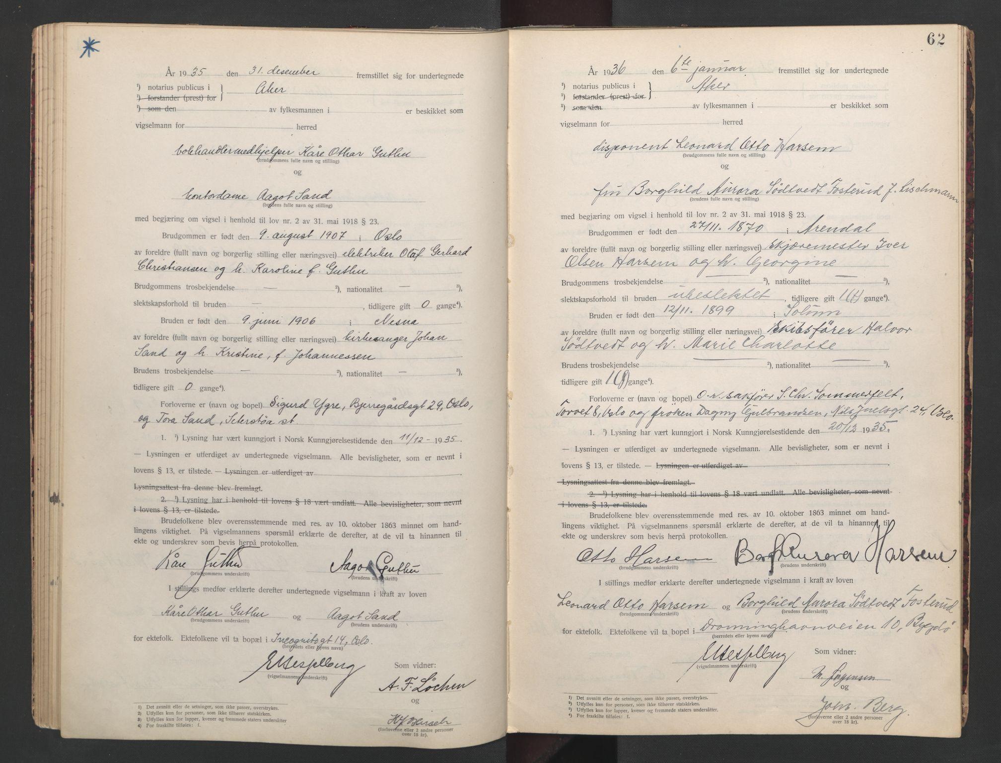 SAO, Aker sorenskriveri, L/Lc/Lcb/L0008: Vigselprotokoll, 1935-1936, s. 62
