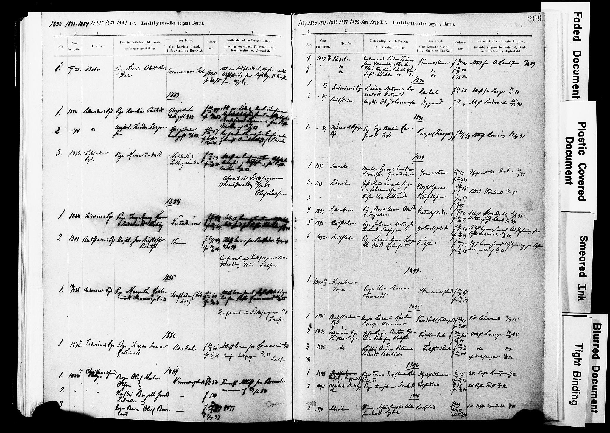 SAT, Ministerialprotokoller, klokkerbøker og fødselsregistre - Nord-Trøndelag, 744/L0420: Ministerialbok nr. 744A04, 1882-1904, s. 209