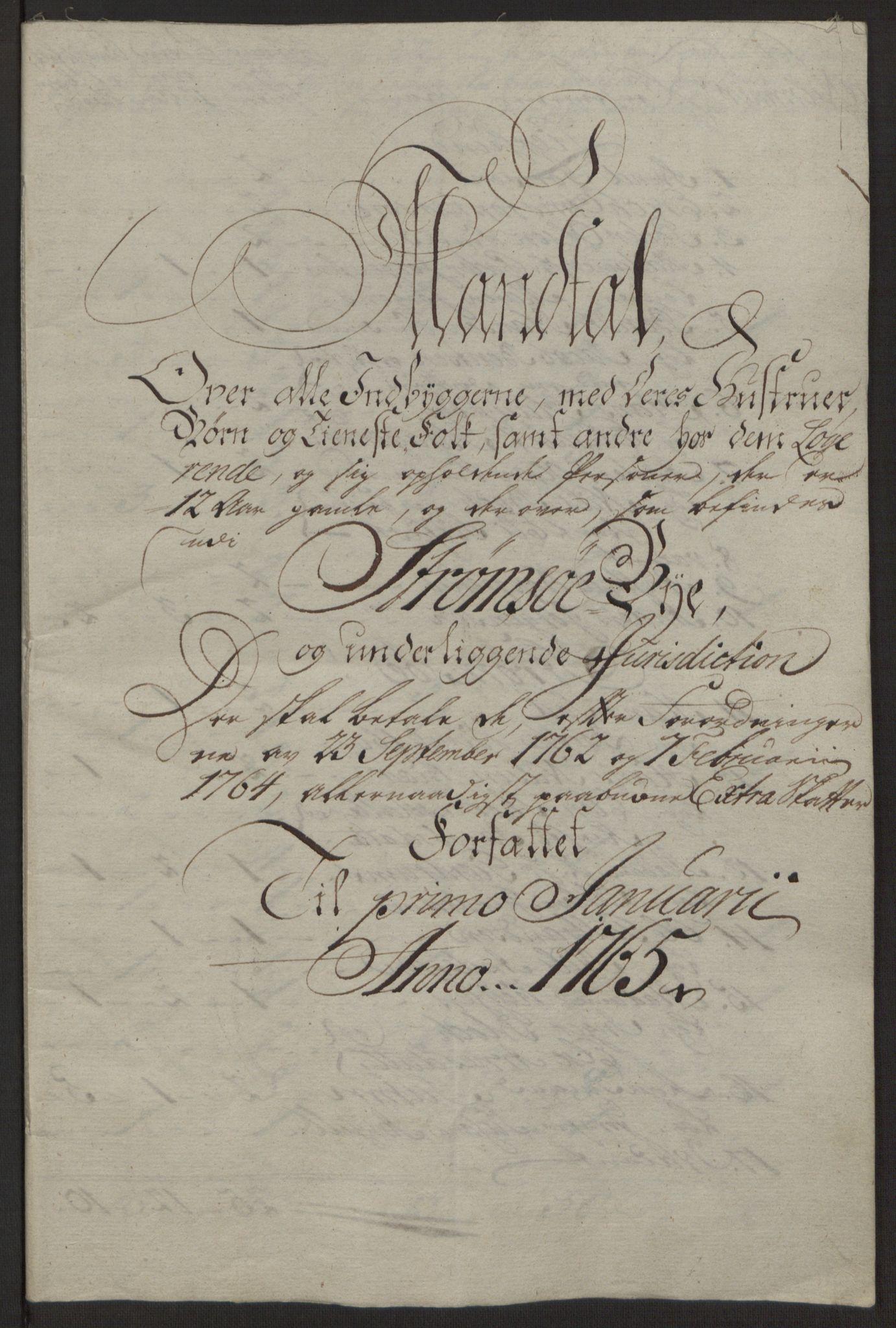 RA, Rentekammeret inntil 1814, Reviderte regnskaper, Byregnskaper, R/Rg/L0144: [G4] Kontribusjonsregnskap, 1762-1767, s. 338