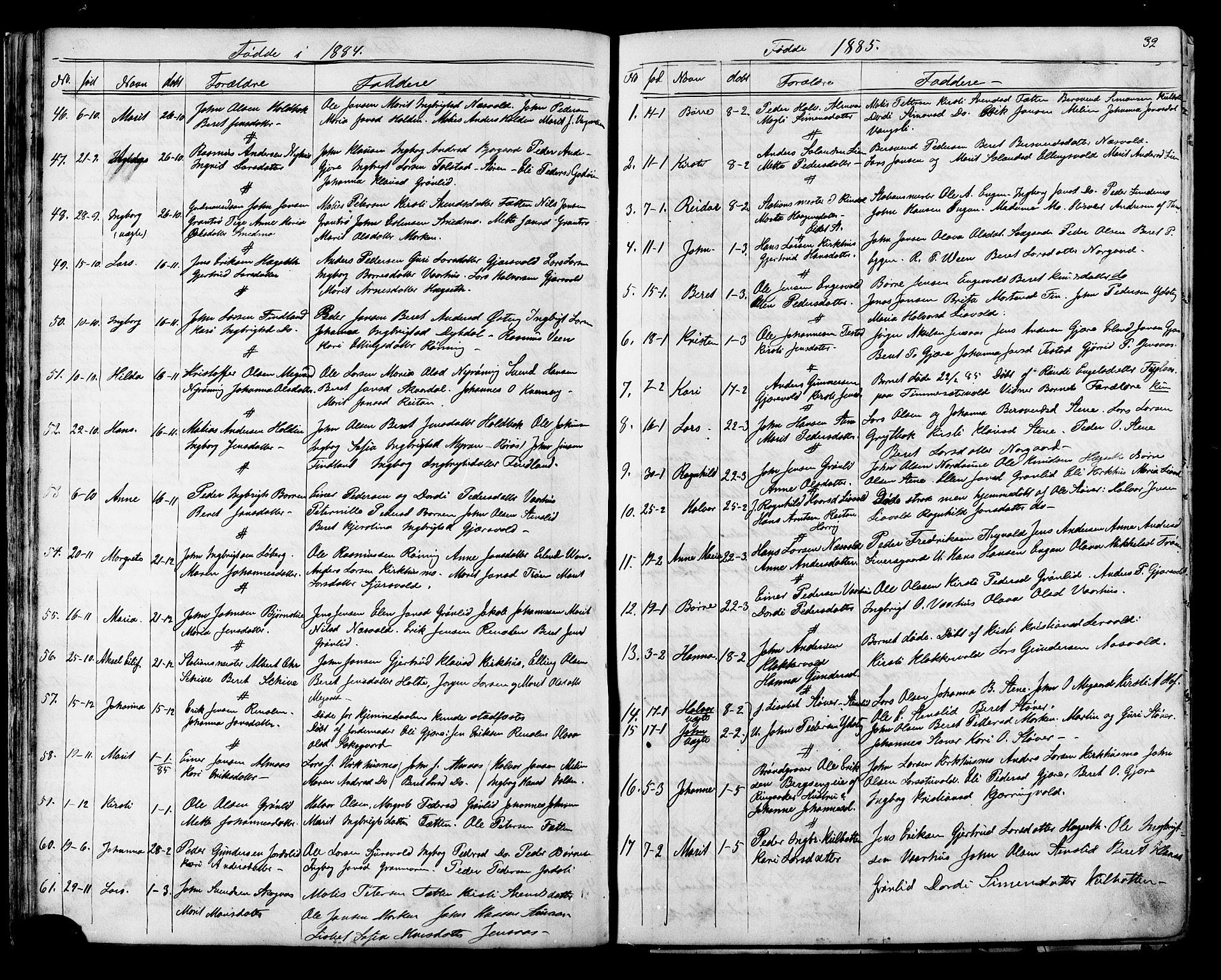 SAT, Ministerialprotokoller, klokkerbøker og fødselsregistre - Sør-Trøndelag, 686/L0985: Klokkerbok nr. 686C01, 1871-1933, s. 32