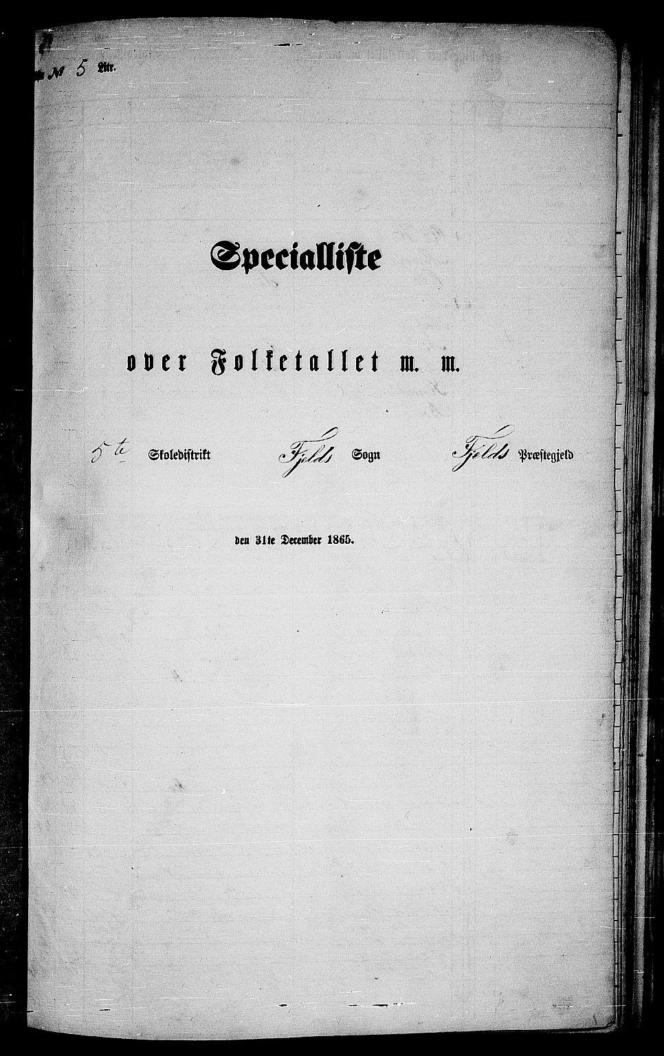 RA, Folketelling 1865 for 1246P Fjell prestegjeld, 1865, s. 84