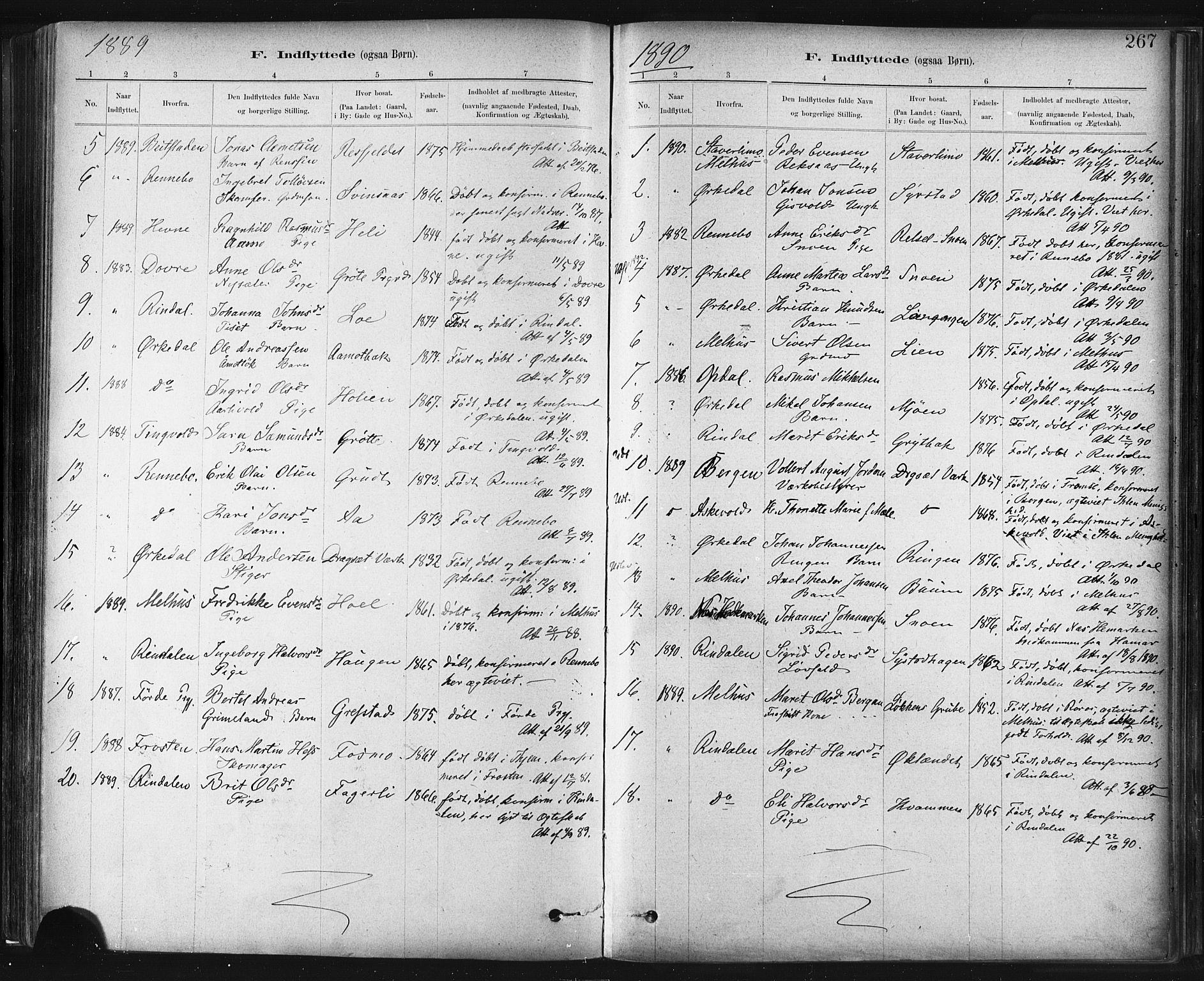 SAT, Ministerialprotokoller, klokkerbøker og fødselsregistre - Sør-Trøndelag, 672/L0857: Ministerialbok nr. 672A09, 1882-1893, s. 267