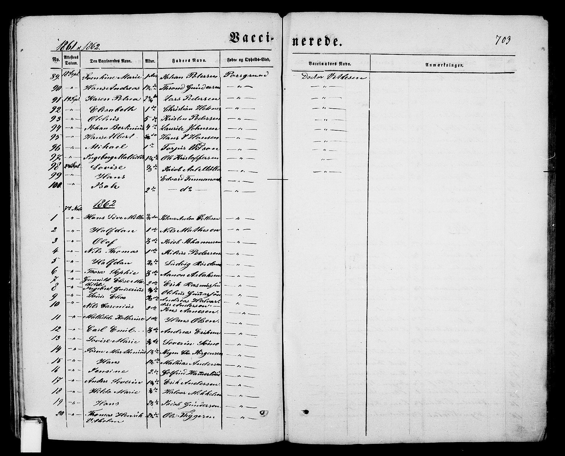 SAKO, Porsgrunn kirkebøker , G/Gb/L0004: Klokkerbok nr. II 4, 1853-1882, s. 703