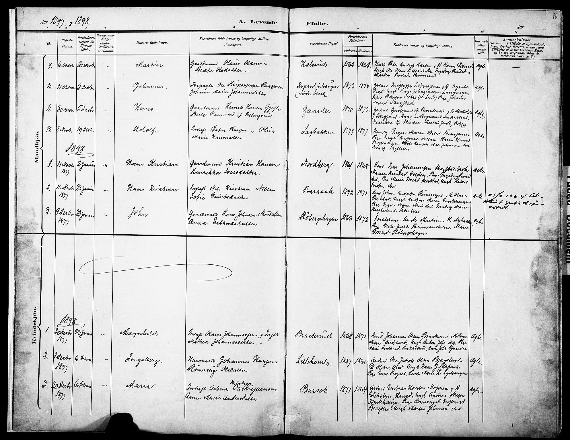 SAH, Nordre Land prestekontor, Ministerialbok nr. 6, 1897-1914, s. 5