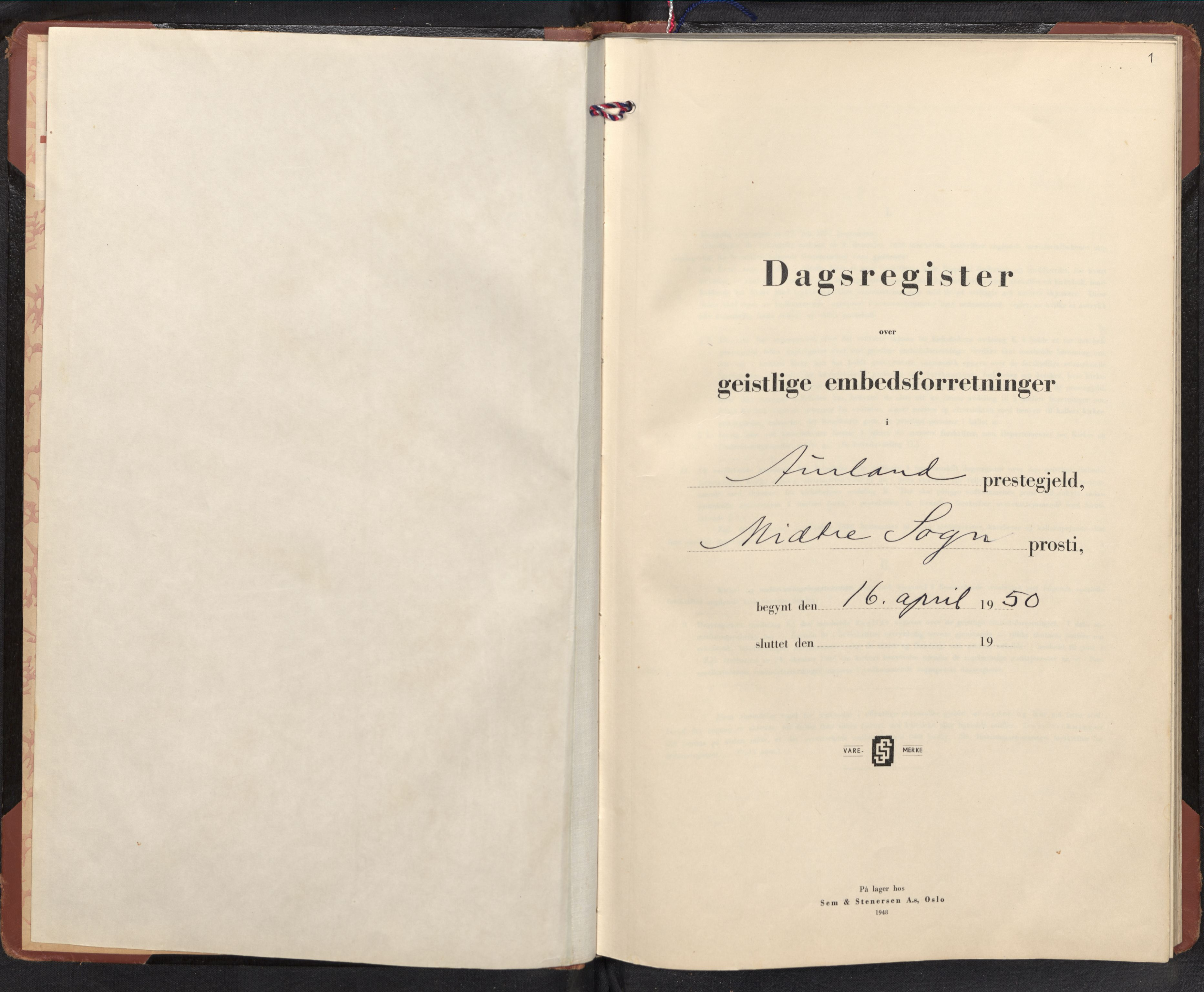 SAB, Aurland Sokneprestembete*, Dagregister nr. F 4, 1950-1965, s. 0b-1a