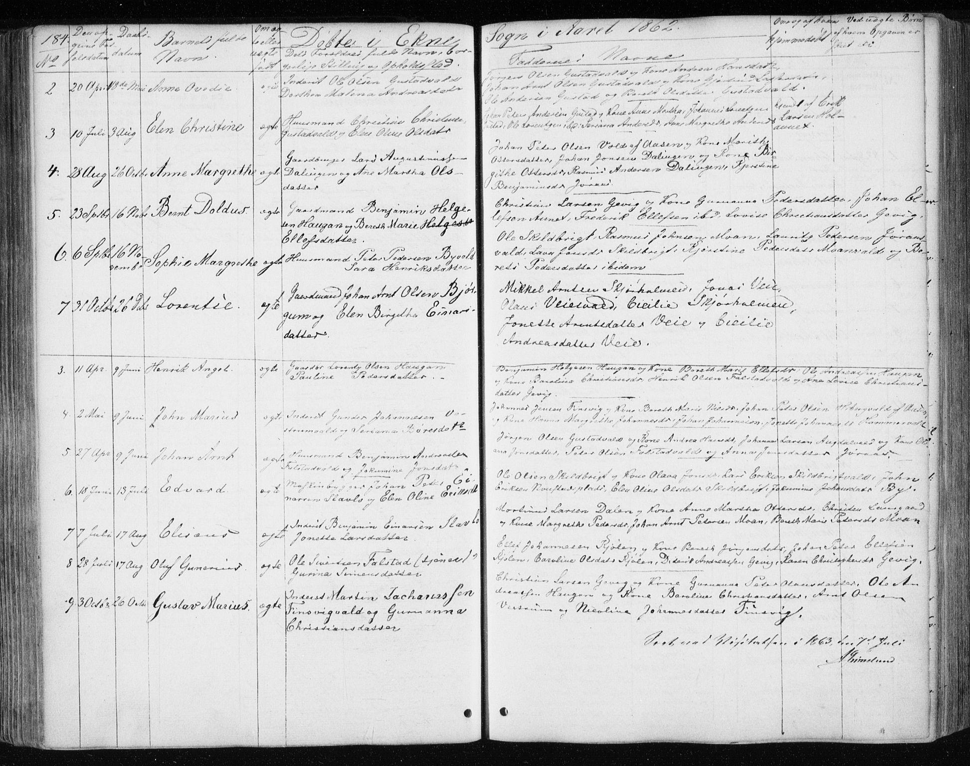 SAT, Ministerialprotokoller, klokkerbøker og fødselsregistre - Nord-Trøndelag, 717/L0154: Ministerialbok nr. 717A07 /3, 1850-1862, s. 184