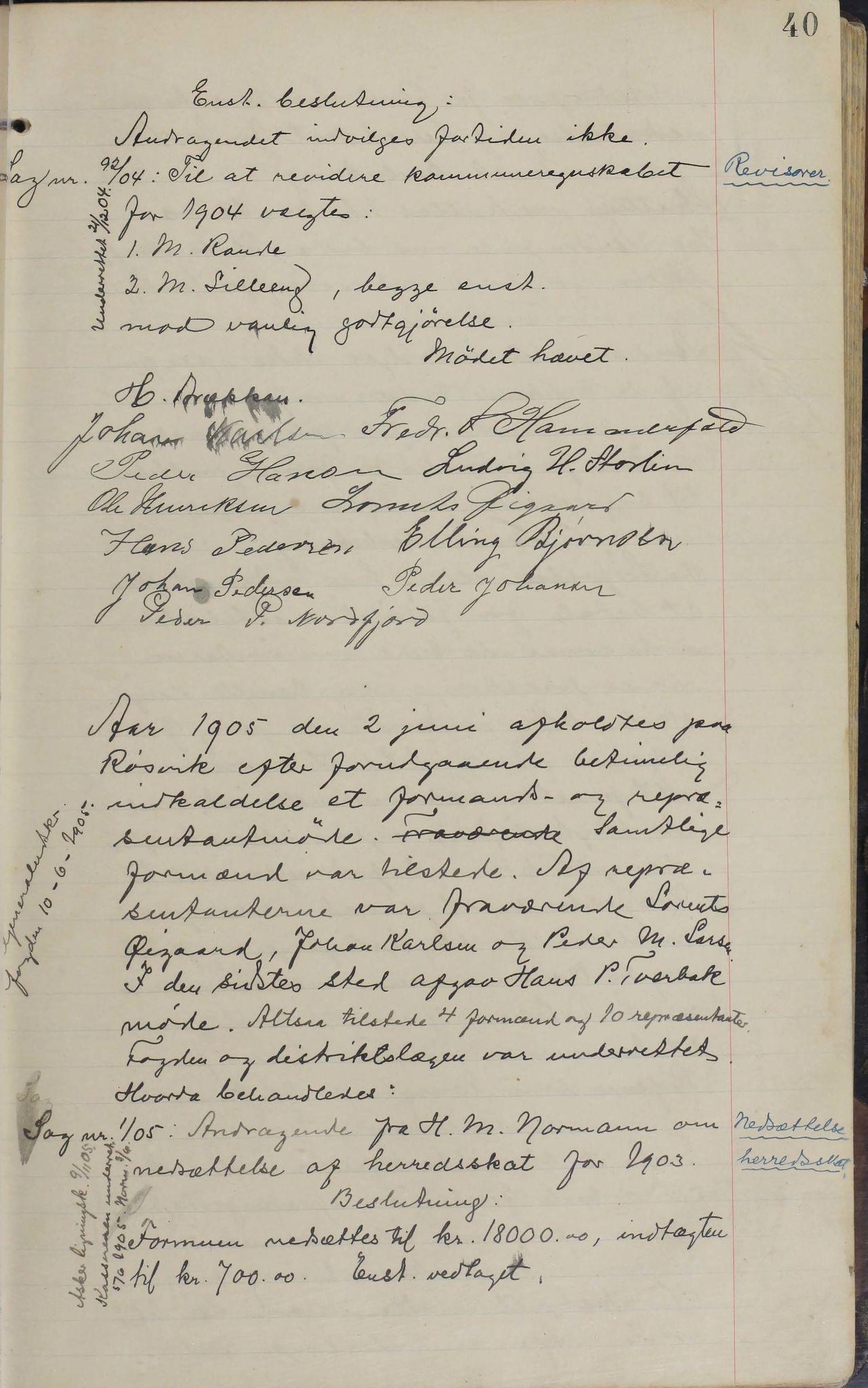 AIN, Sørfold kommune. Formannskap, 100/L0002: Forhandlingsprotokol for Sørfoldens formandskab, 1902-1913, s. 40