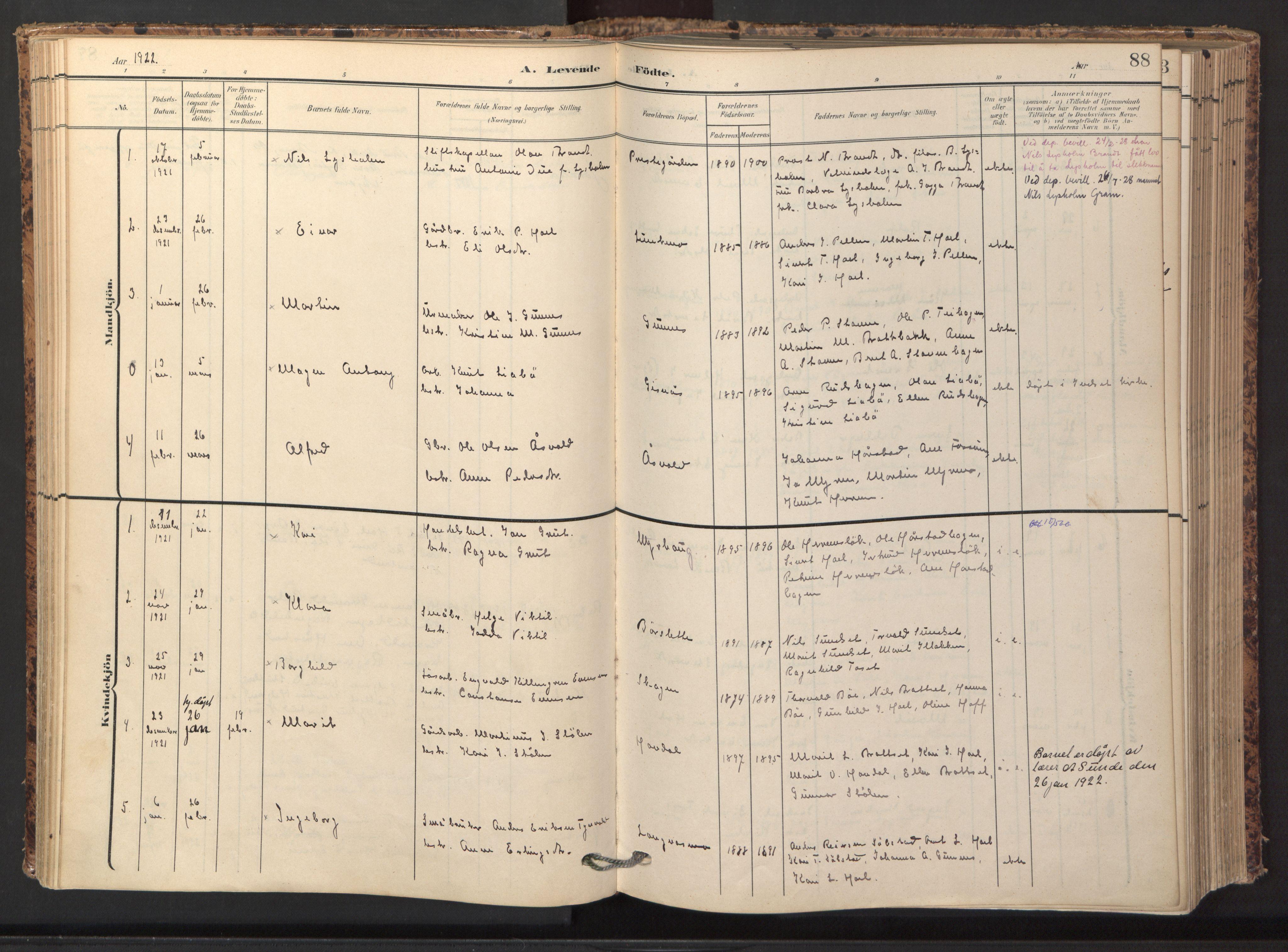 SAT, Ministerialprotokoller, klokkerbøker og fødselsregistre - Sør-Trøndelag, 674/L0873: Ministerialbok nr. 674A05, 1908-1923, s. 88