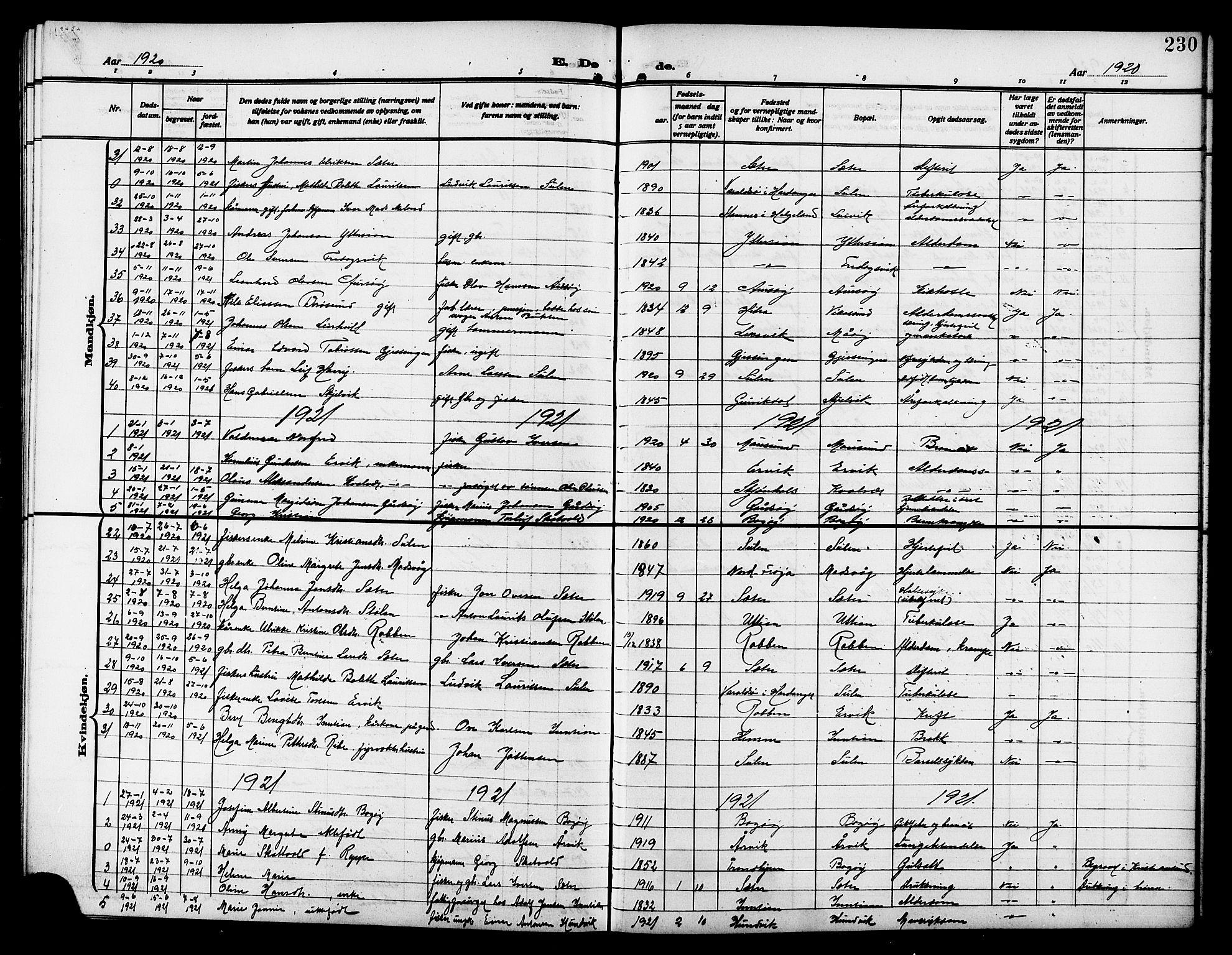 SAT, Ministerialprotokoller, klokkerbøker og fødselsregistre - Sør-Trøndelag, 640/L0588: Klokkerbok nr. 640C05, 1909-1922, s. 230