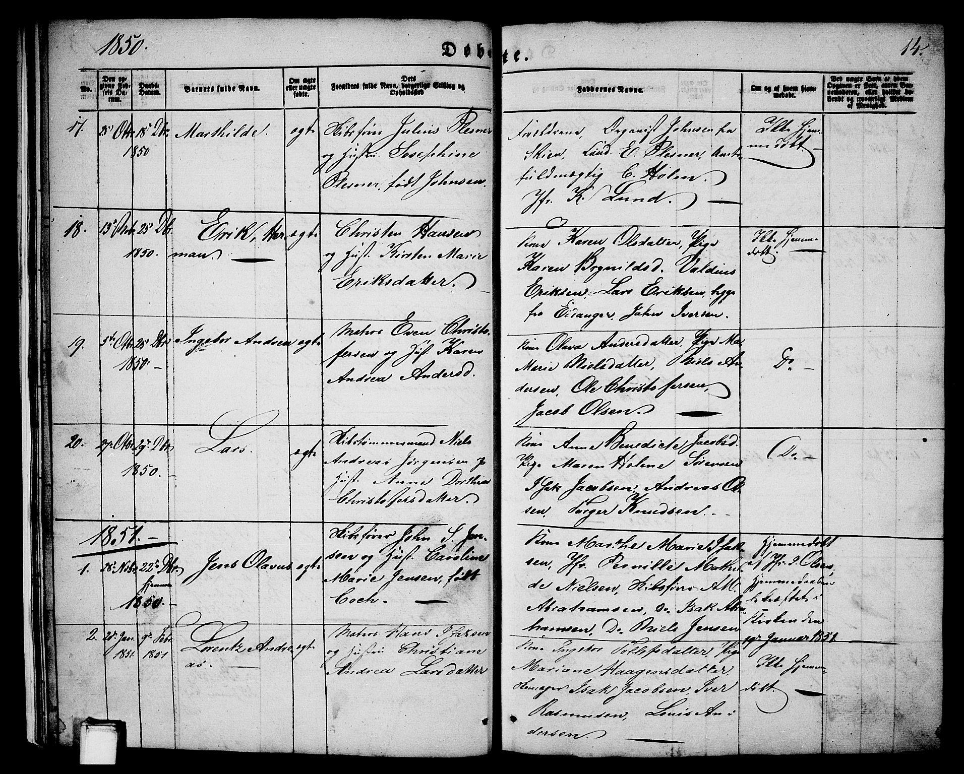 SAKO, Porsgrunn kirkebøker , G/Ga/L0002: Klokkerbok nr. I 2, 1847-1877, s. 14