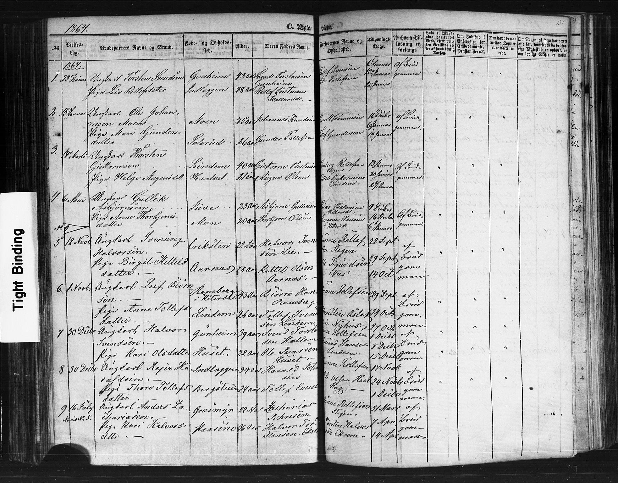 SAKO, Sauherad kirkebøker, F/Fb/L0001: Ministerialbok nr. II 1, 1851-1877, s. 131