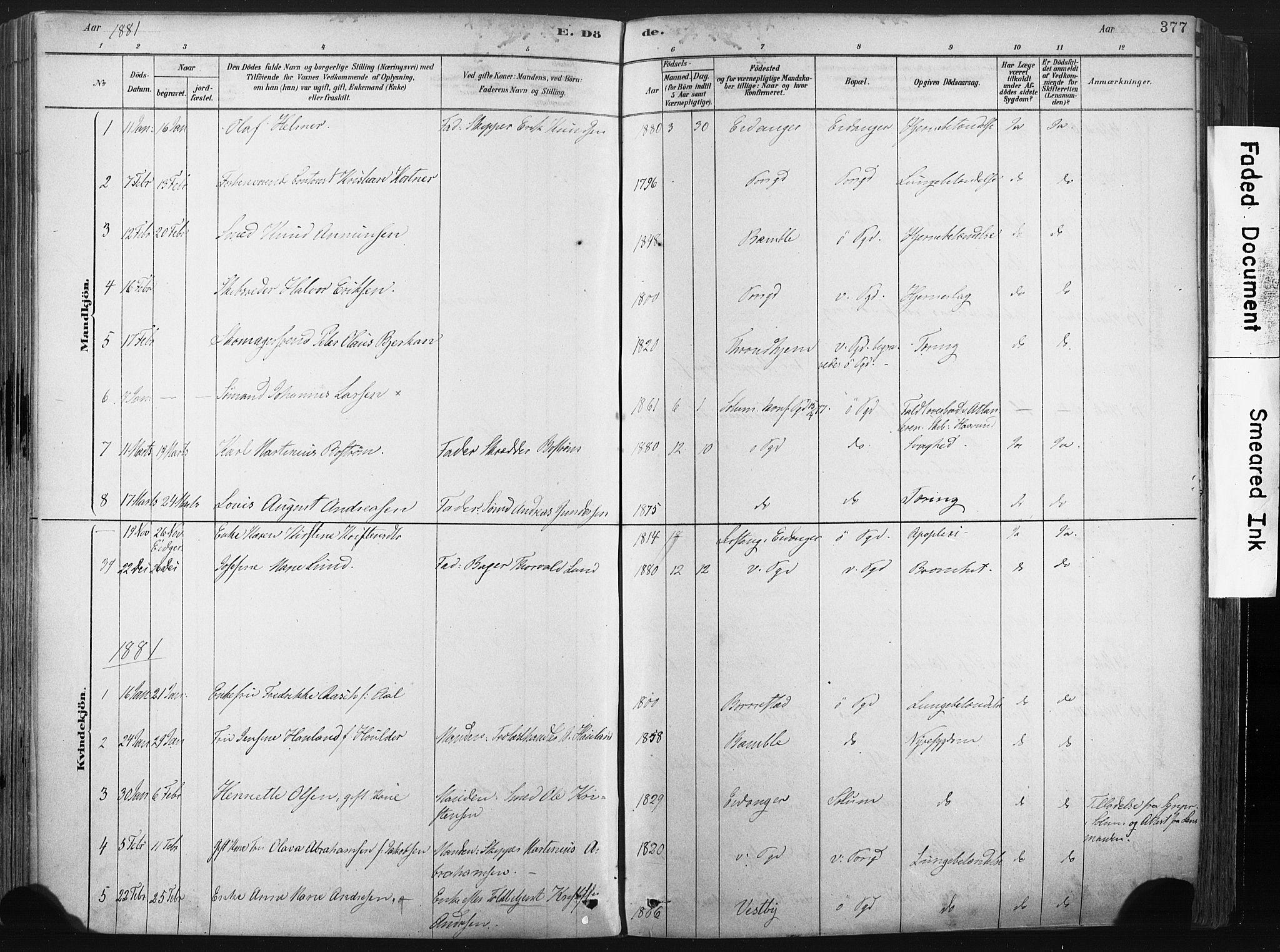 SAKO, Porsgrunn kirkebøker , F/Fa/L0008: Ministerialbok nr. 8, 1878-1895, s. 377