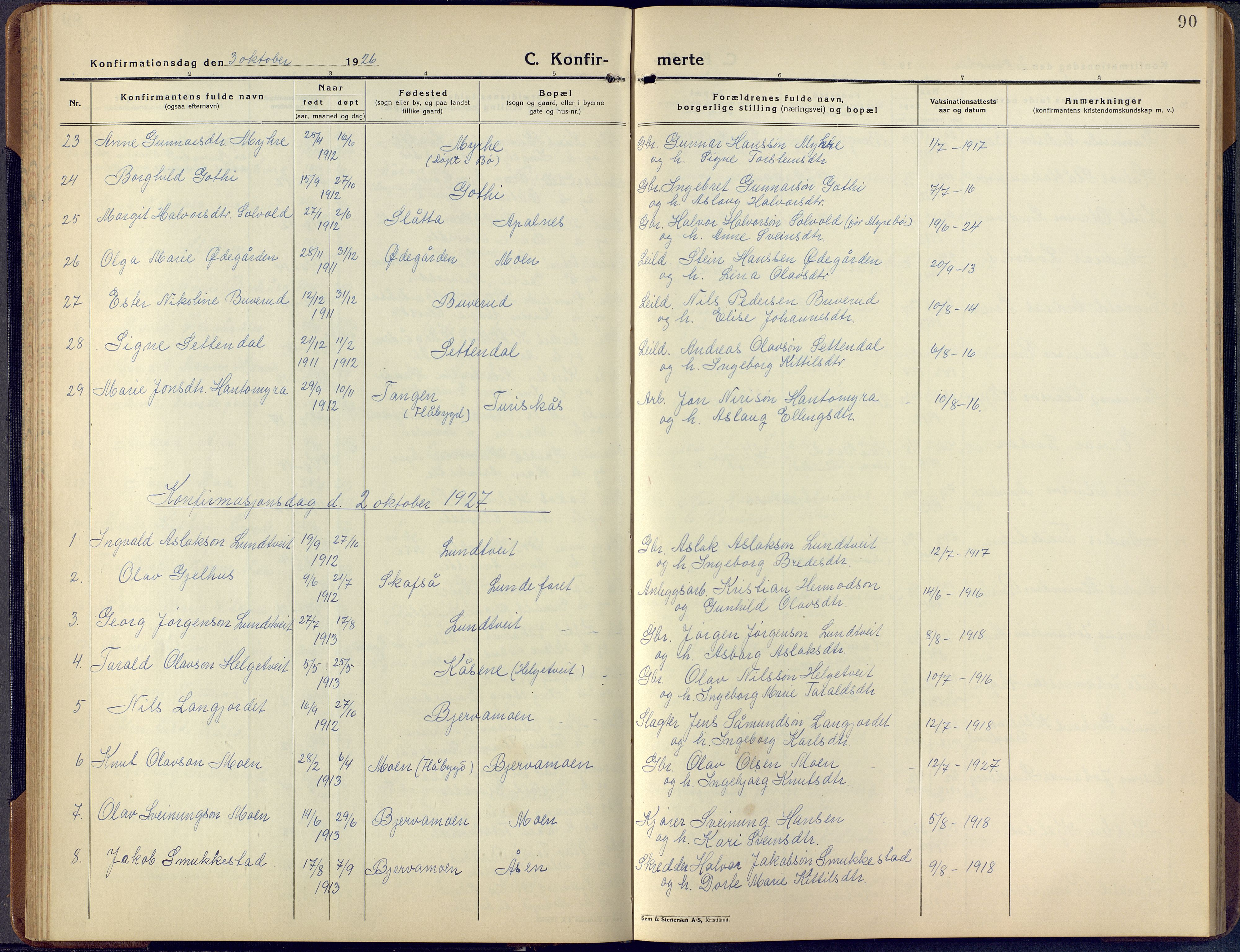 SAKO, Lunde kirkebøker, F/Fa/L0006: Ministerialbok nr. I 6, 1922-1940, s. 90