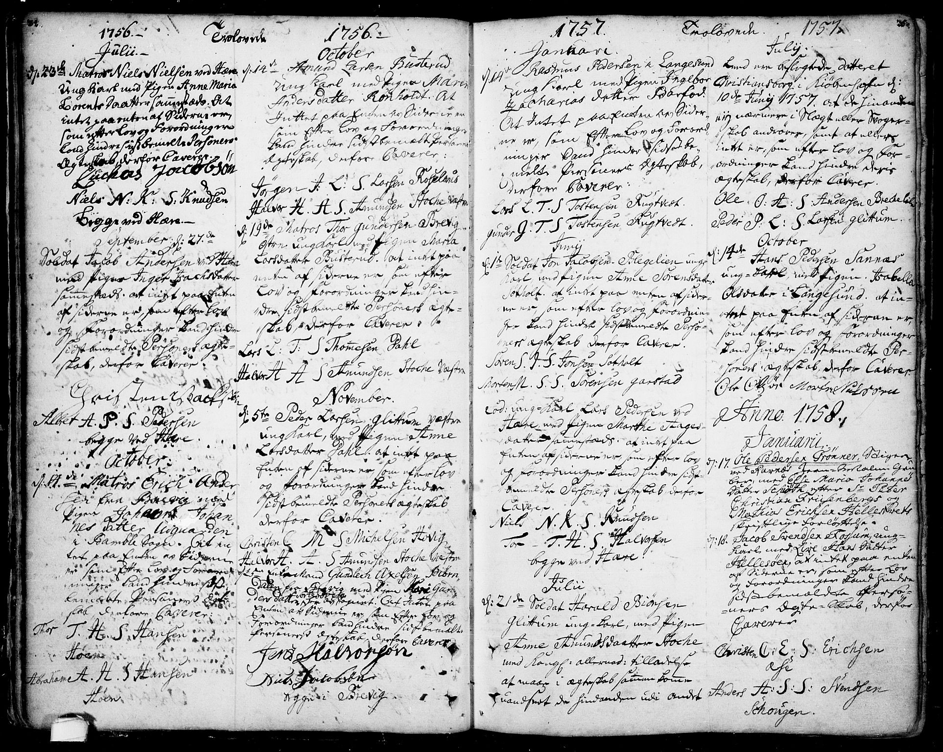 SAKO, Bamble kirkebøker, F/Fa/L0001: Ministerialbok nr. I 1, 1702-1774, s. 34-35