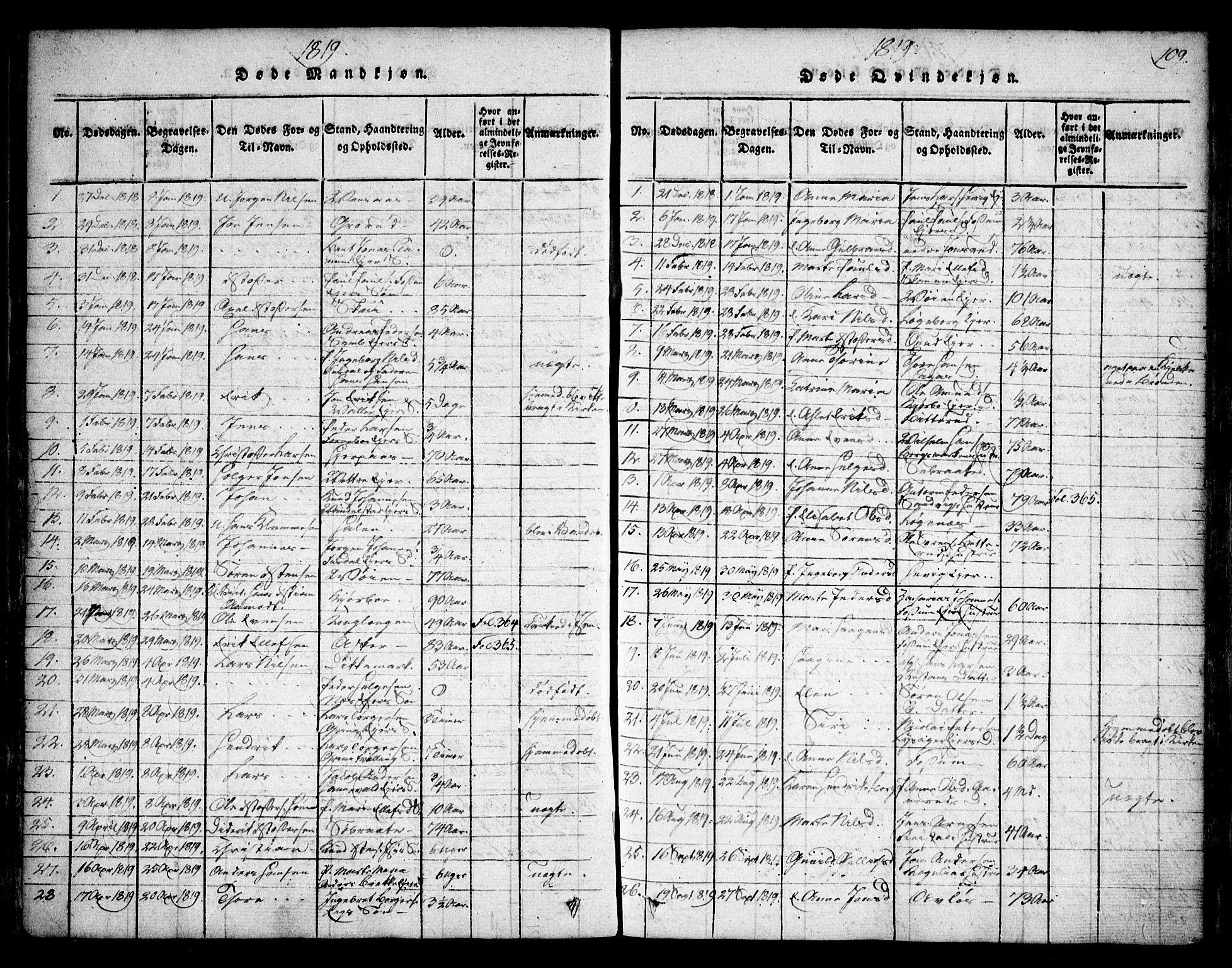 SAO, Asker prestekontor Kirkebøker, F/Fa/L0006: Ministerialbok nr. I 6, 1814-1824, s. 109