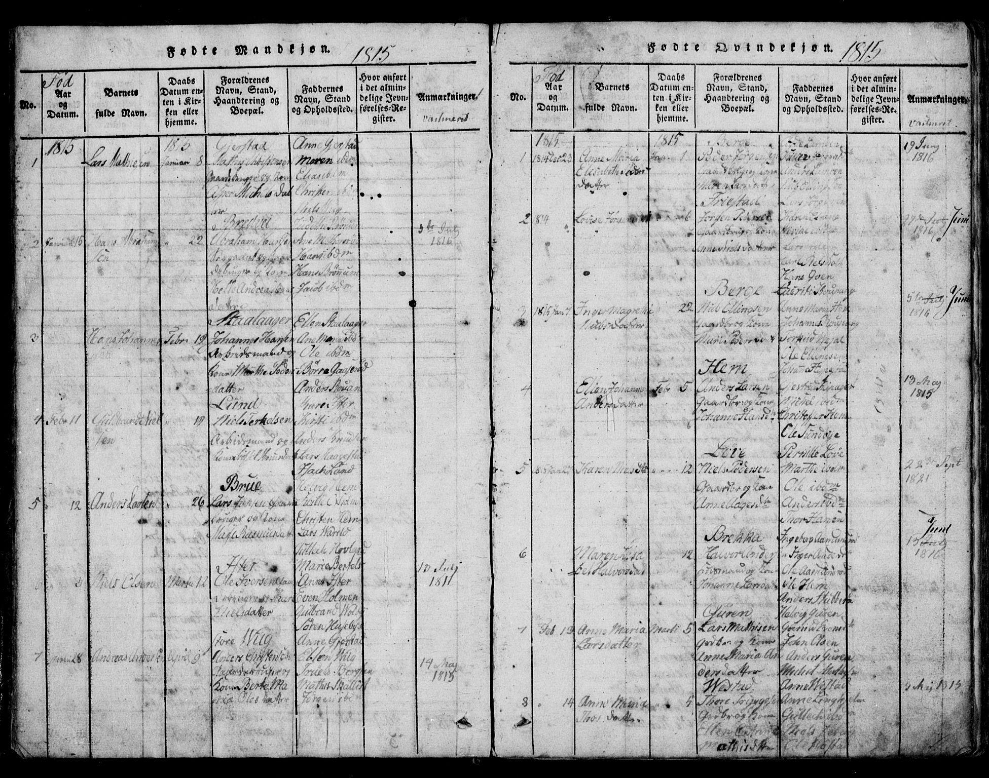 SAKO, Tjølling kirkebøker, G/Ga/L0001: Klokkerbok nr. 1, 1814-1835, s. 8-9