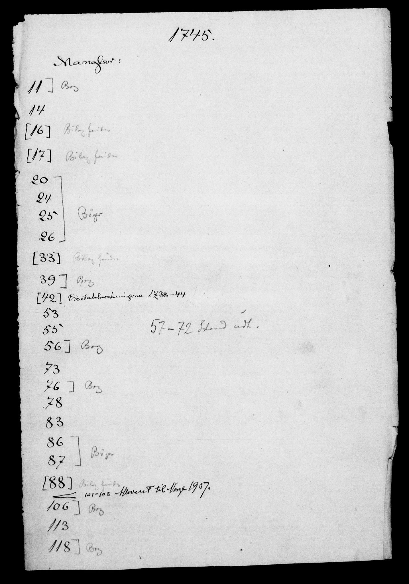 DRA, Generalkirkeinspektionskollegiet, F4-06/F4-06-14: Protokollerede indkomne sager, 1745