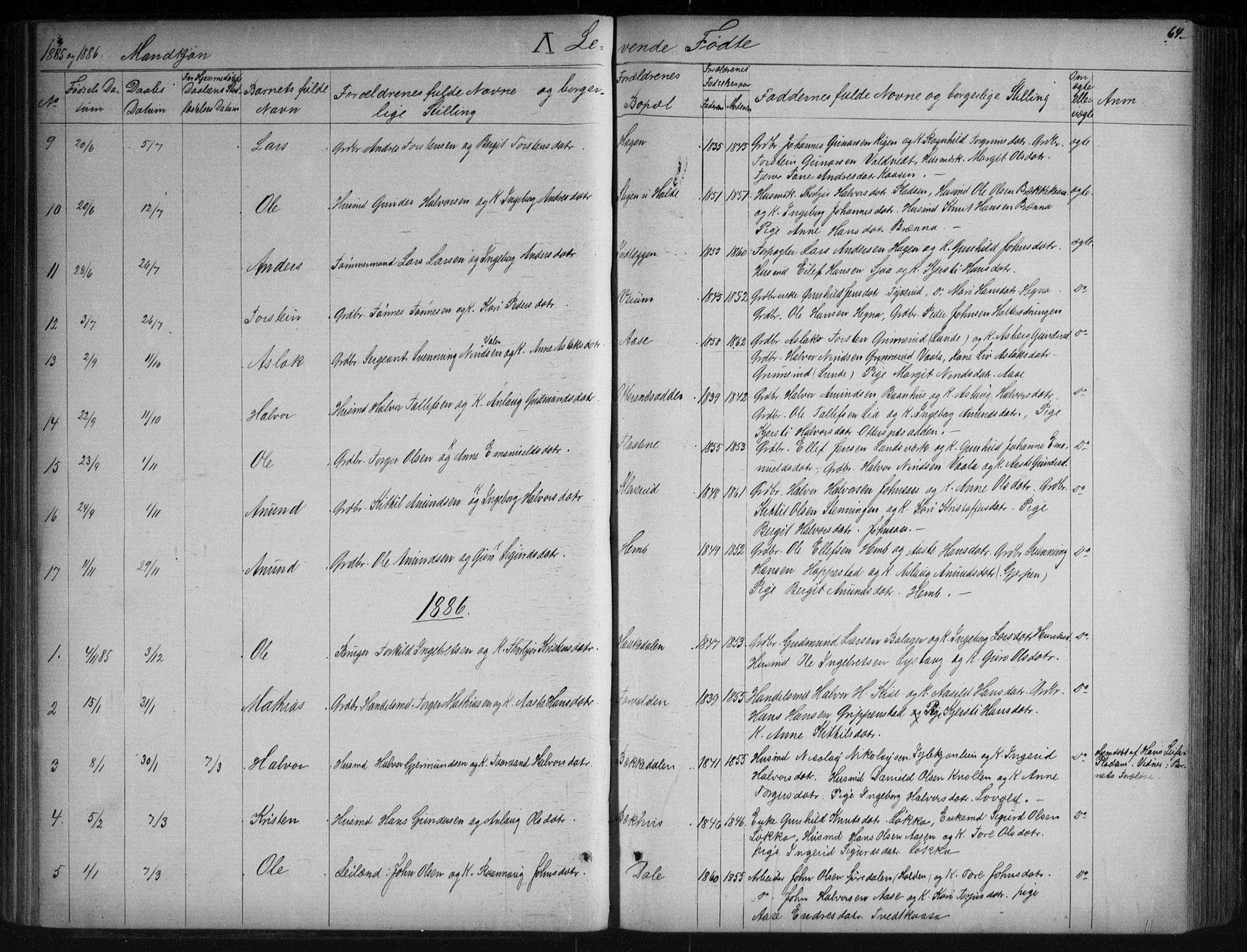 SAKO, Sauherad kirkebøker, G/Ga/L0003: Klokkerbok nr. I 3, 1866-1905, s. 64